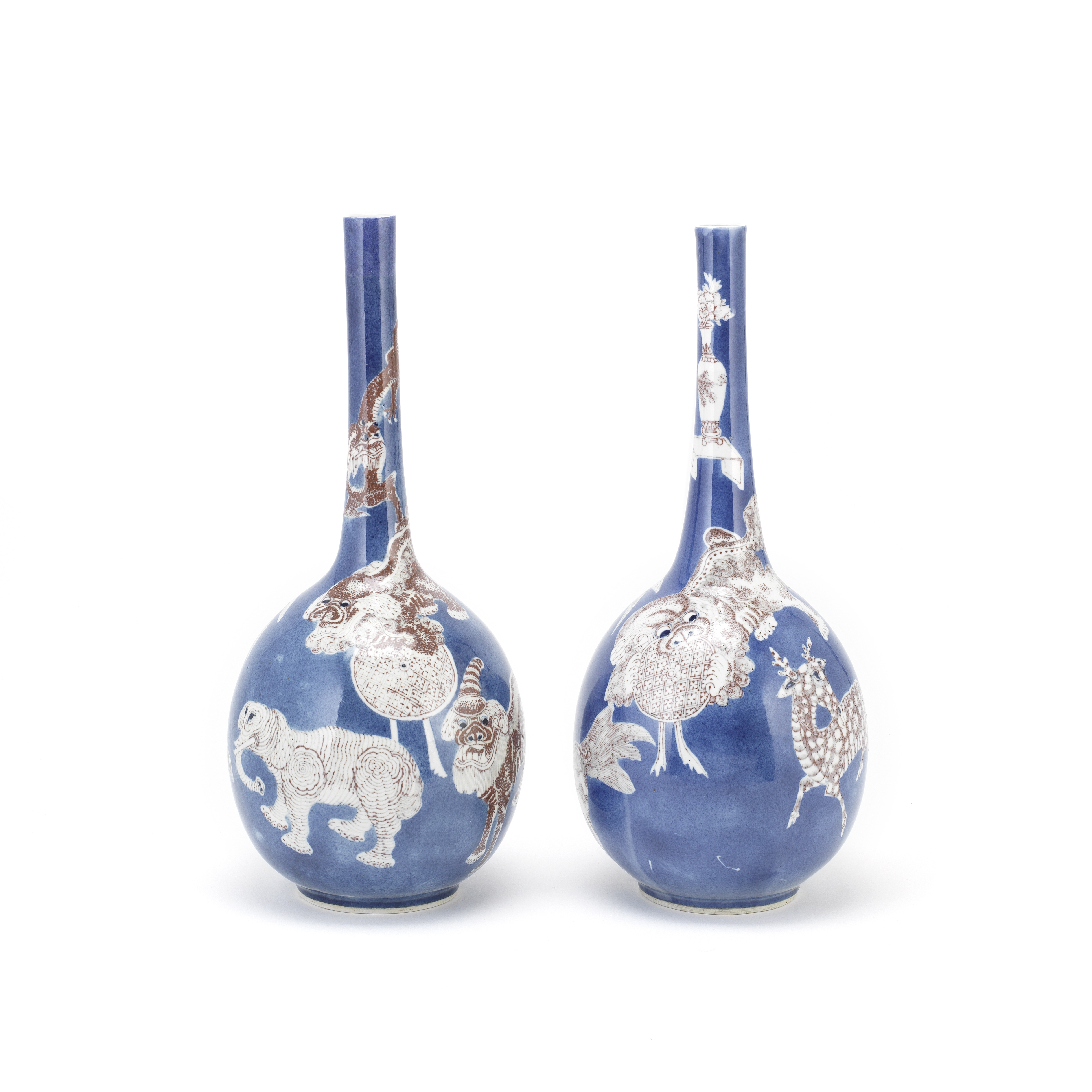 A PAIR OF POWDER BLUE AND COPPER RED DECORATED BOTTLE VASES 19th century (2)