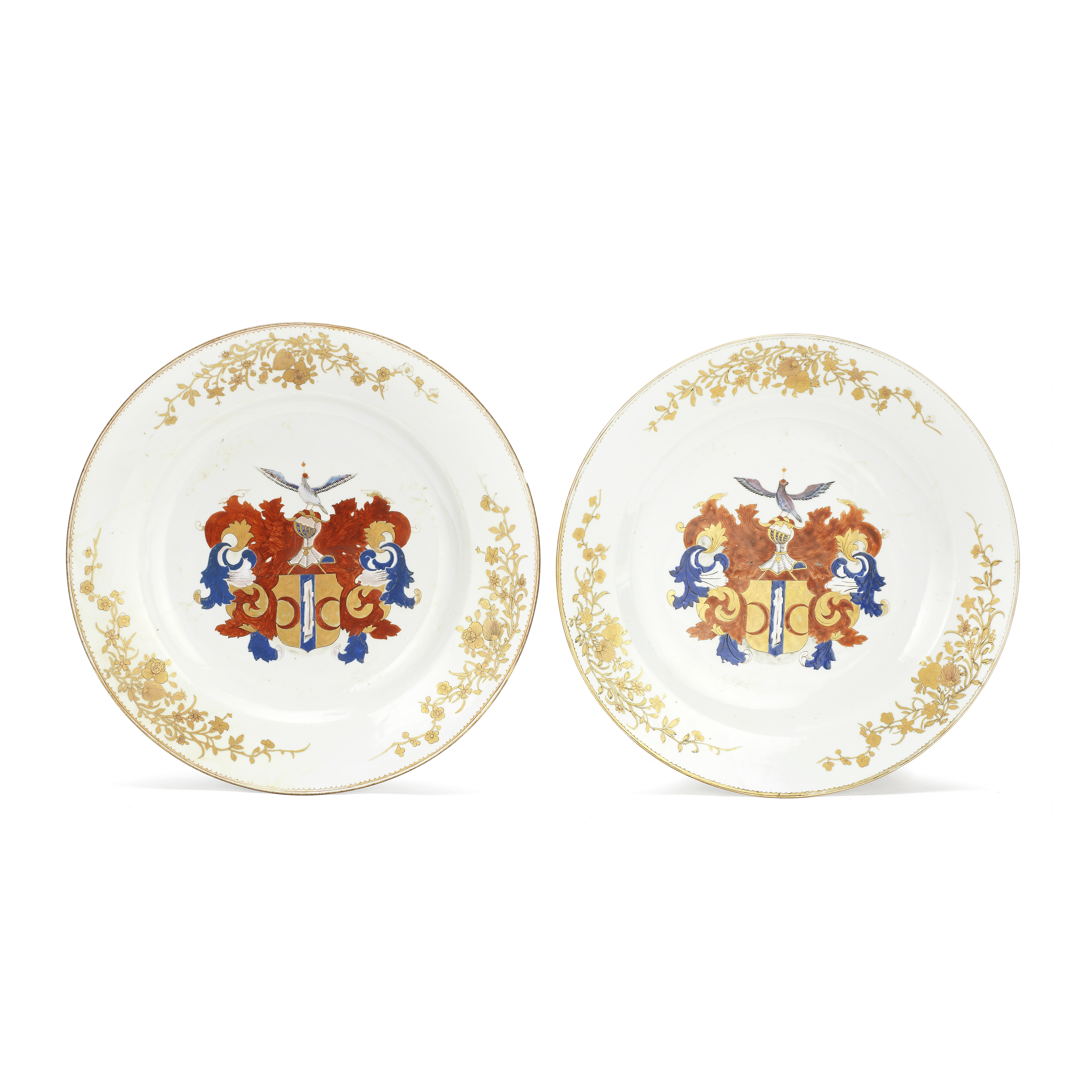 A PAIR OF FAMILLE ROSE 'DUTCH MARKET' ARMORIAL DISHES Qianlong (2)