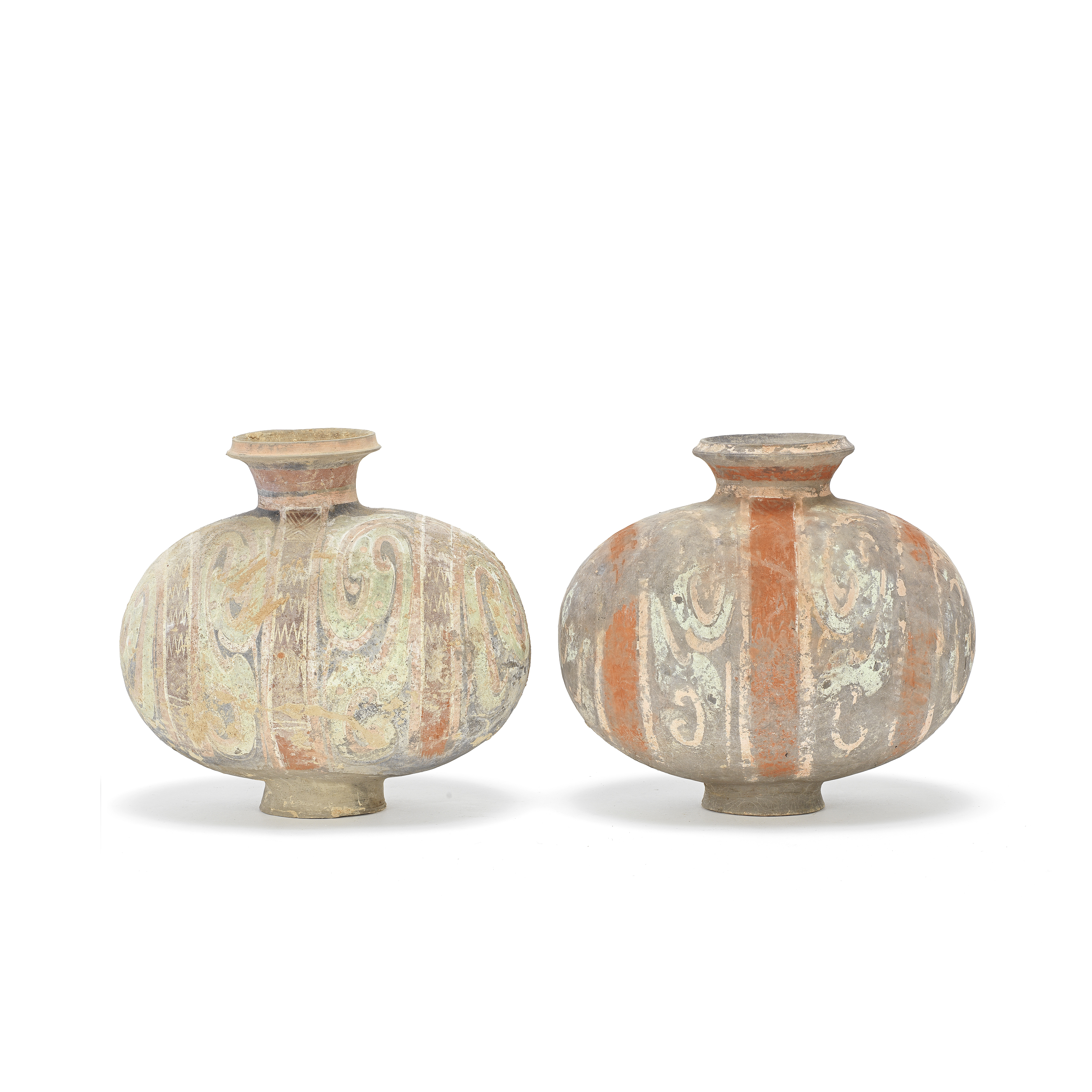 A PAIR OF PAINTED POTTERY 'COCOON' JARS Han Dynasty (2)