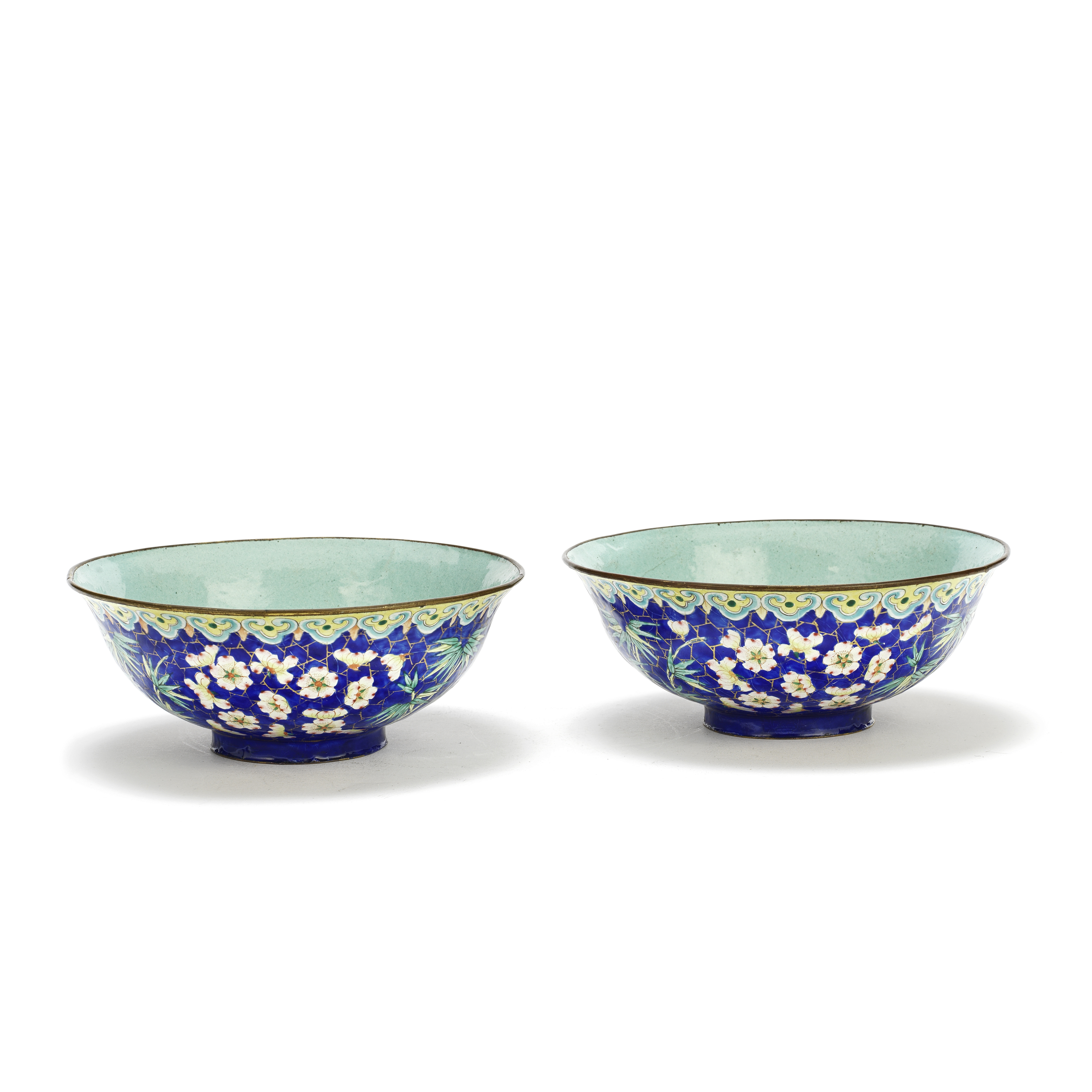 A PAIR OF PAINTED ENAMEL BOWLS 19th century (2)