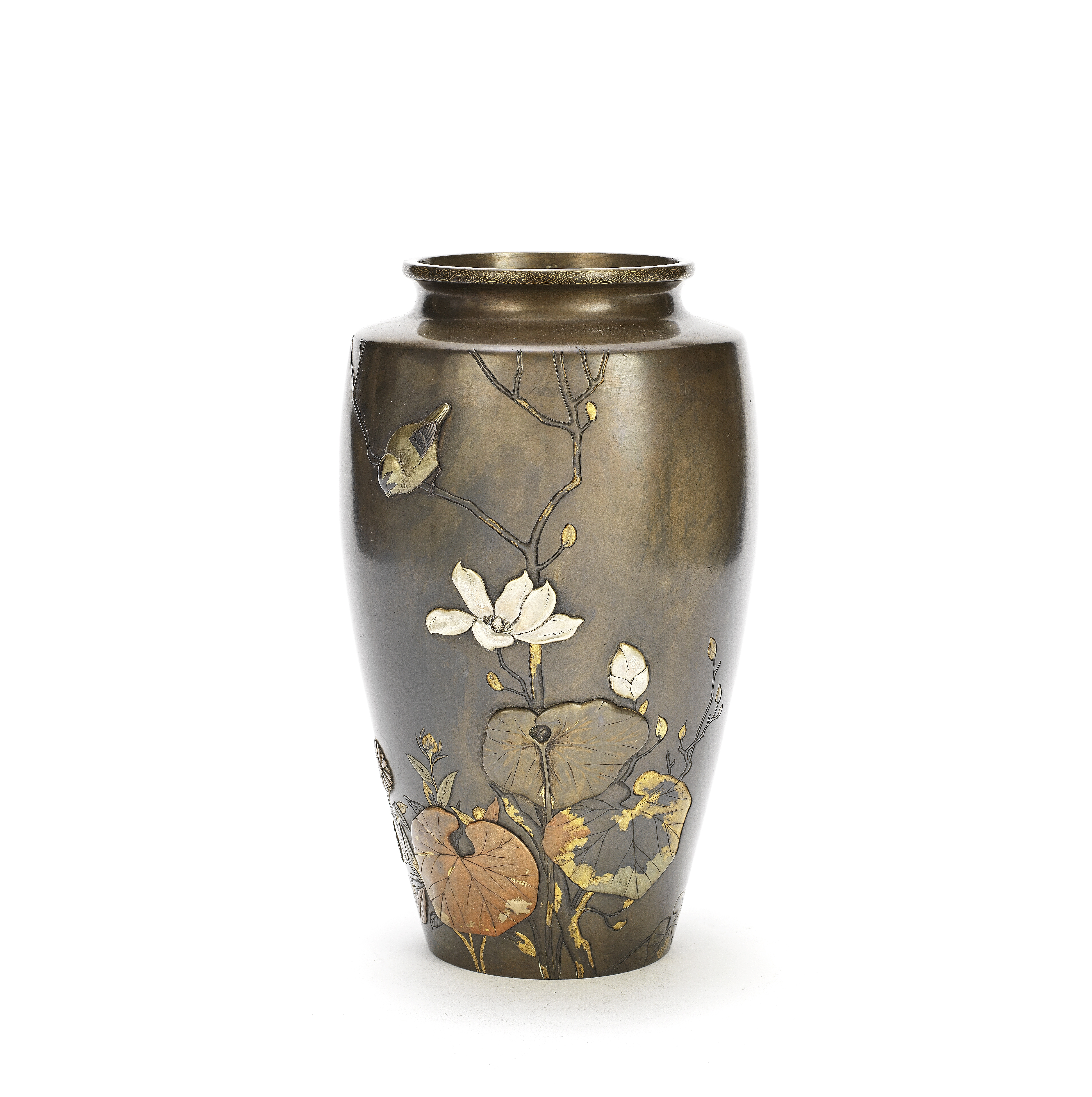 A BRONZE AND MIXED METAL VASE Probably by Seizo, Meiji Period