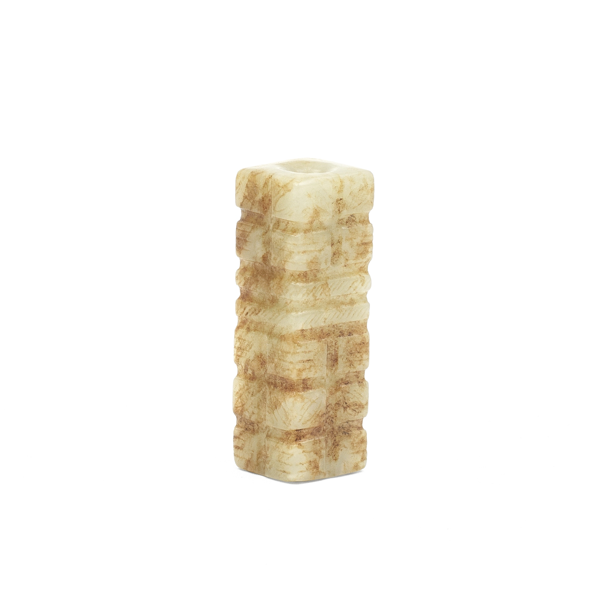 AN ARCHAISTIC PALE GREEN AND RUSSET JADE CONG-SHAPED BEAD Qing Dynasty or earlier