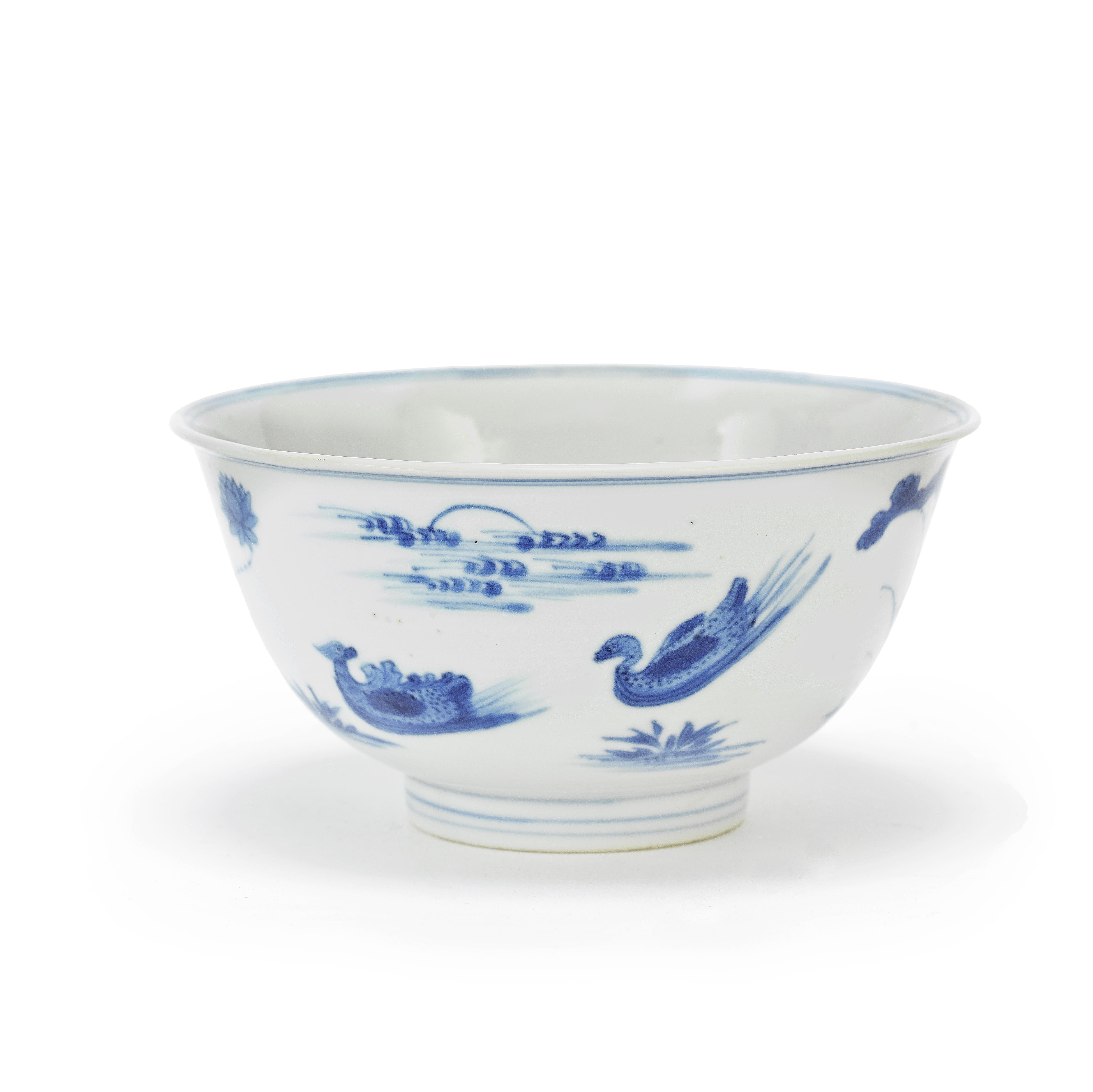 A BLUE AND WHITE 'DUCKS' BOWL Chenghua six-character mark, Kangxi