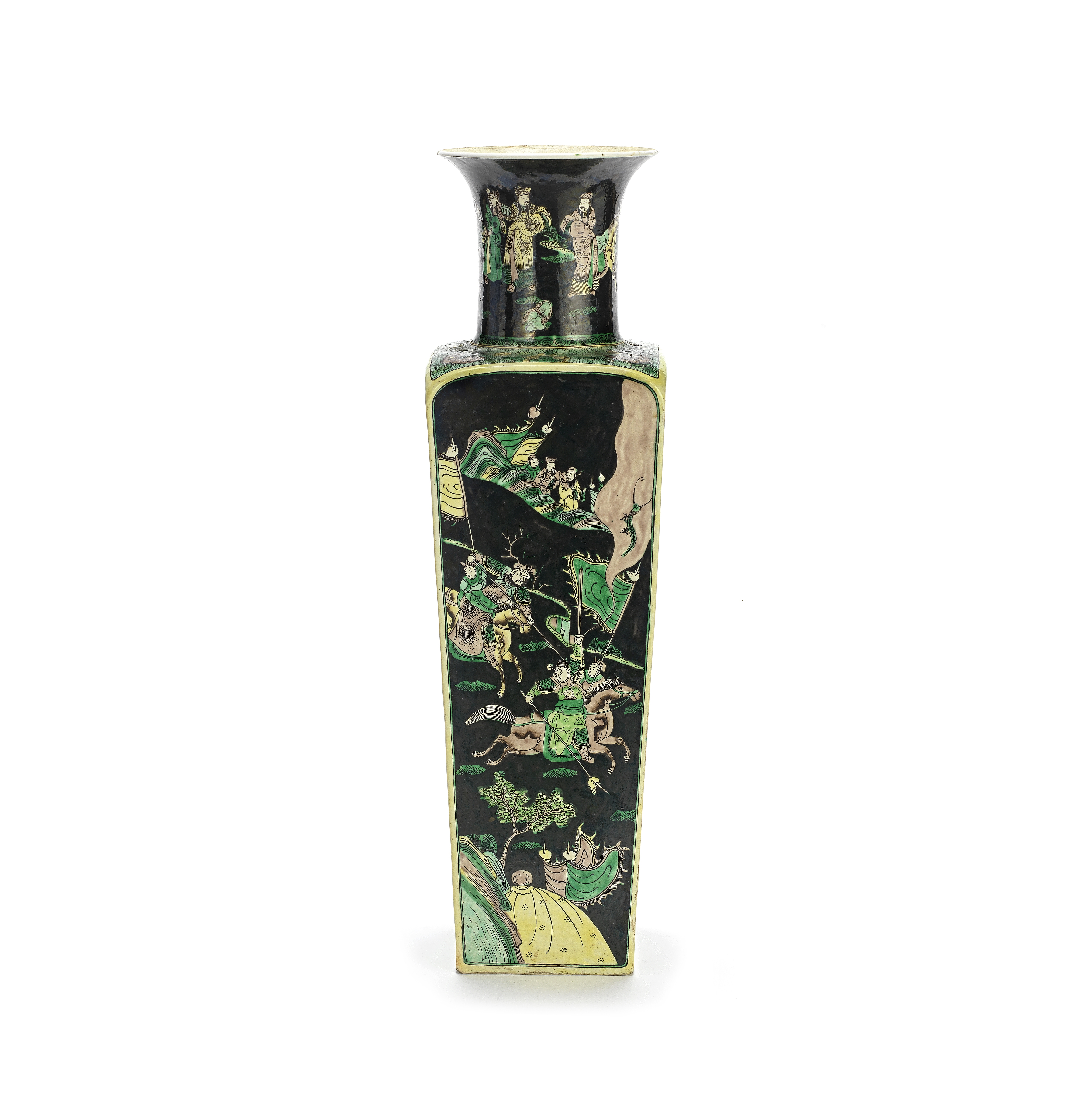 A BLACK-GROUND FAMILLE VERTE BISCUIT VASE Kangxi six-character mark, late Qing Dynasty