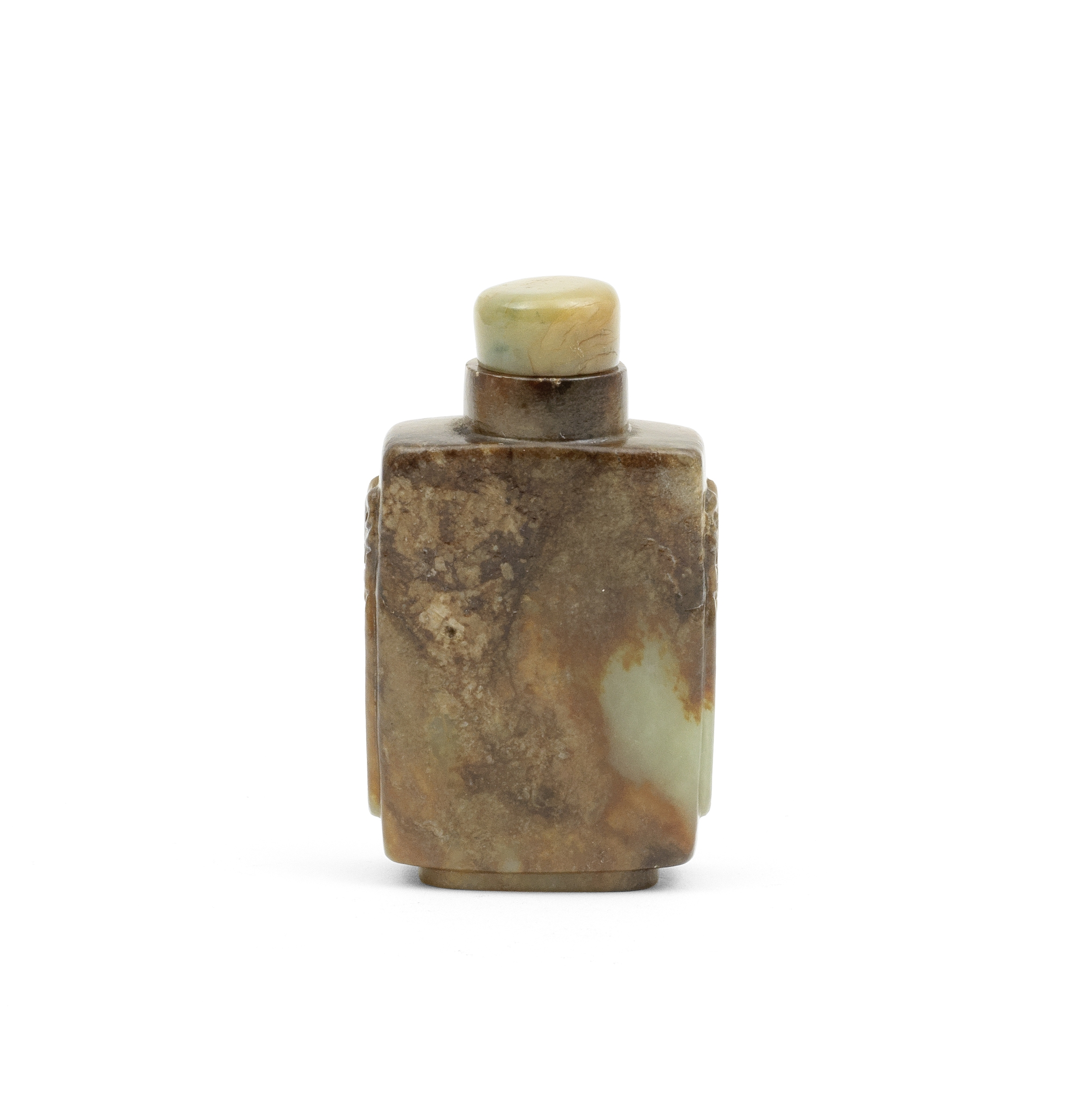 A GREEN AND RUSSET JADE SNUFF BOTTLE AND STOPPER 19th century (2)