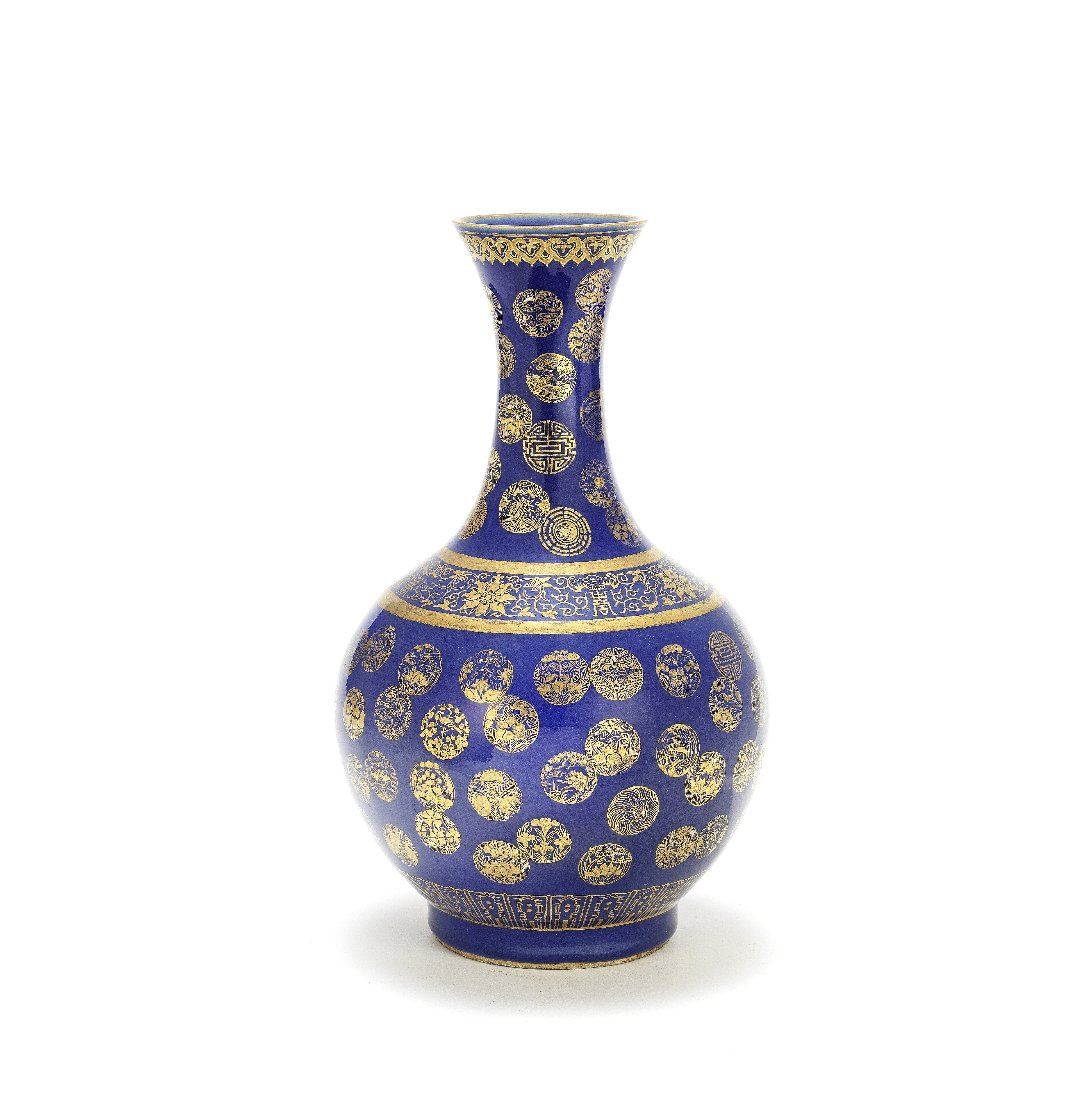 A GILT-DECORATED BLUE-GROUND 'MEDALLION' VASE Guangxu gilt-enamelled six-character mark and possi...