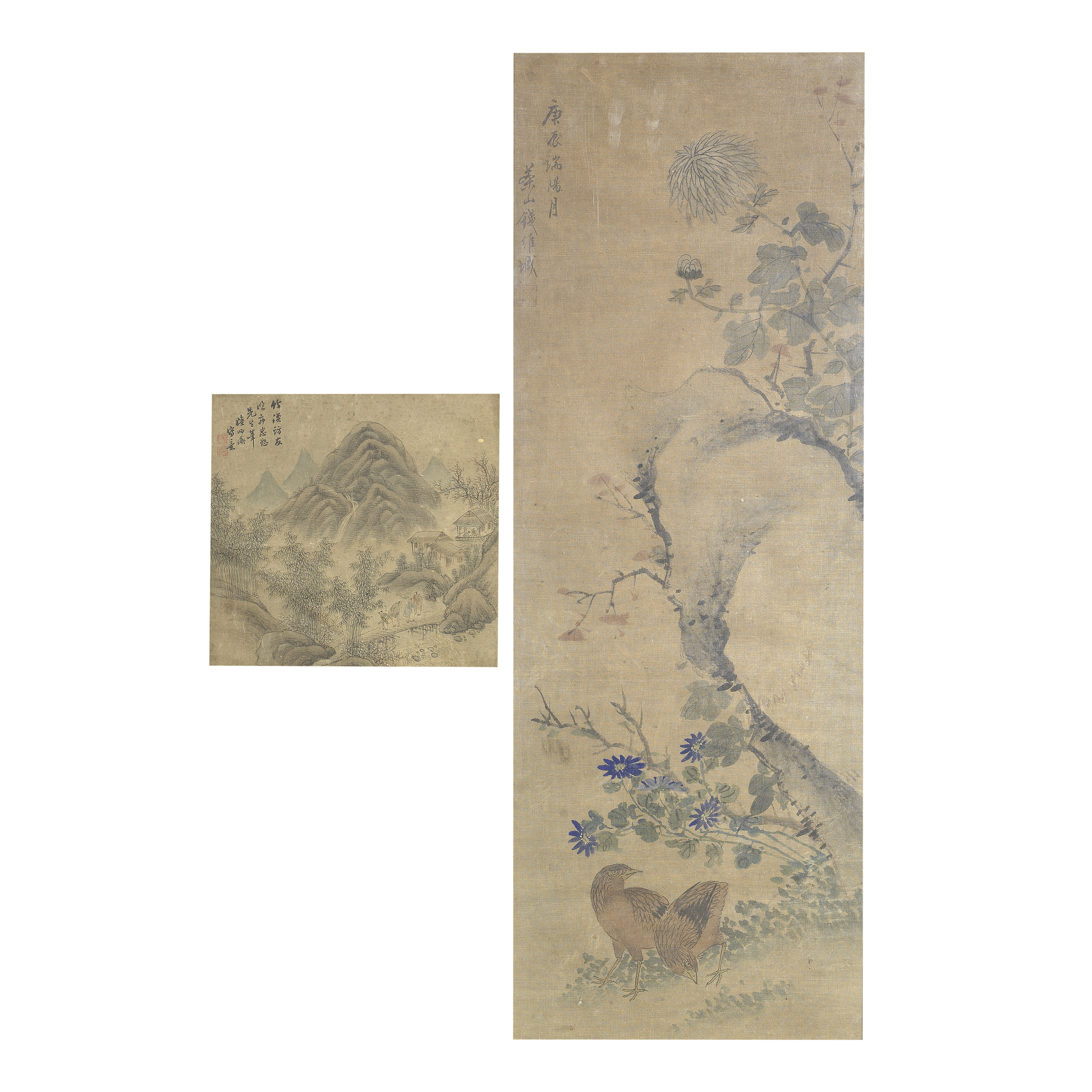 AFTER LU SHIDAO AND AFTER QIAN WEICHENG (19TH/20TH CENTURY) 'Landscape with figures' and 'Quails ...