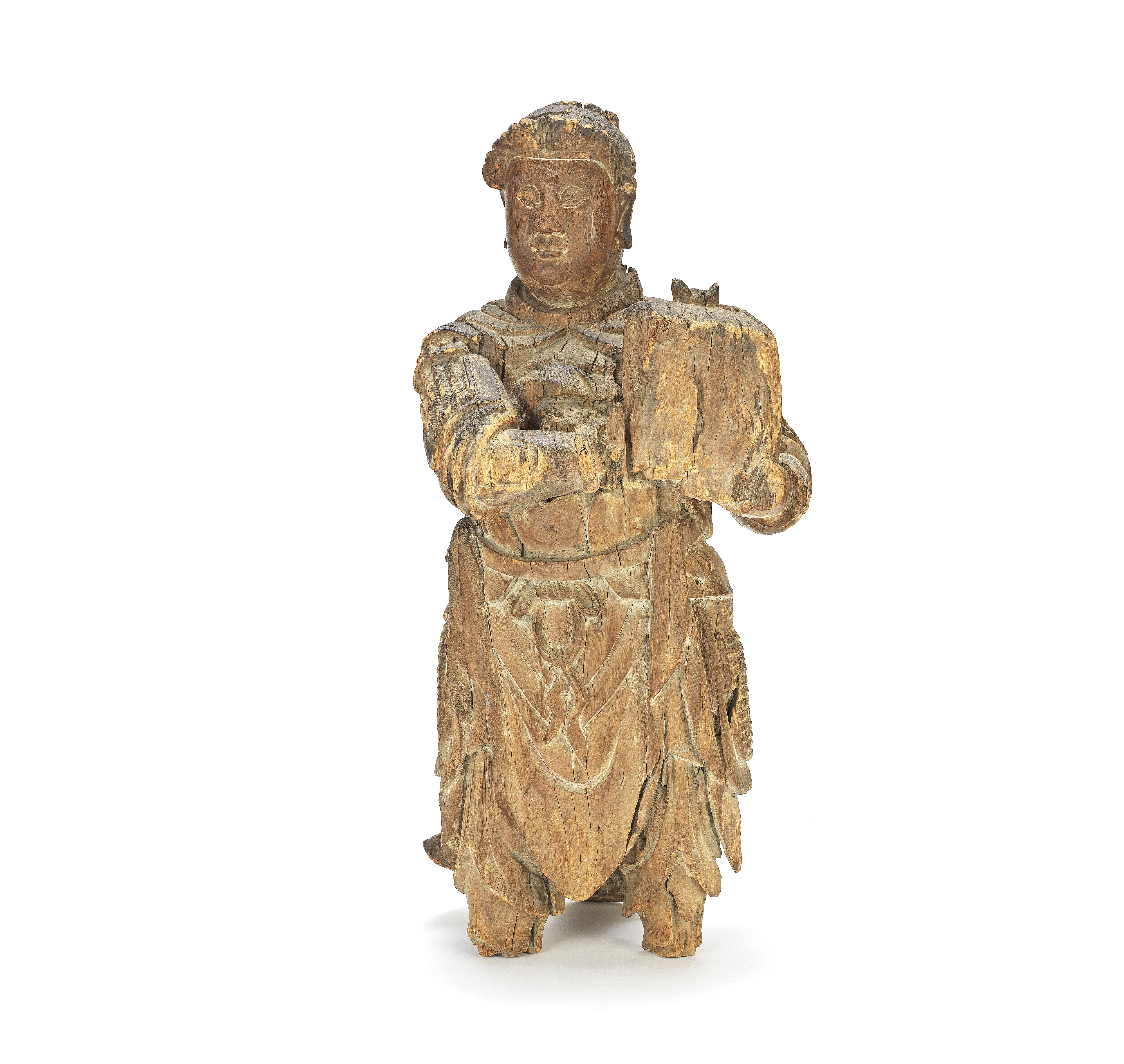 A CARVED WOOD FIGURE OF AN ATTENDANT Ming Dynasty (2)