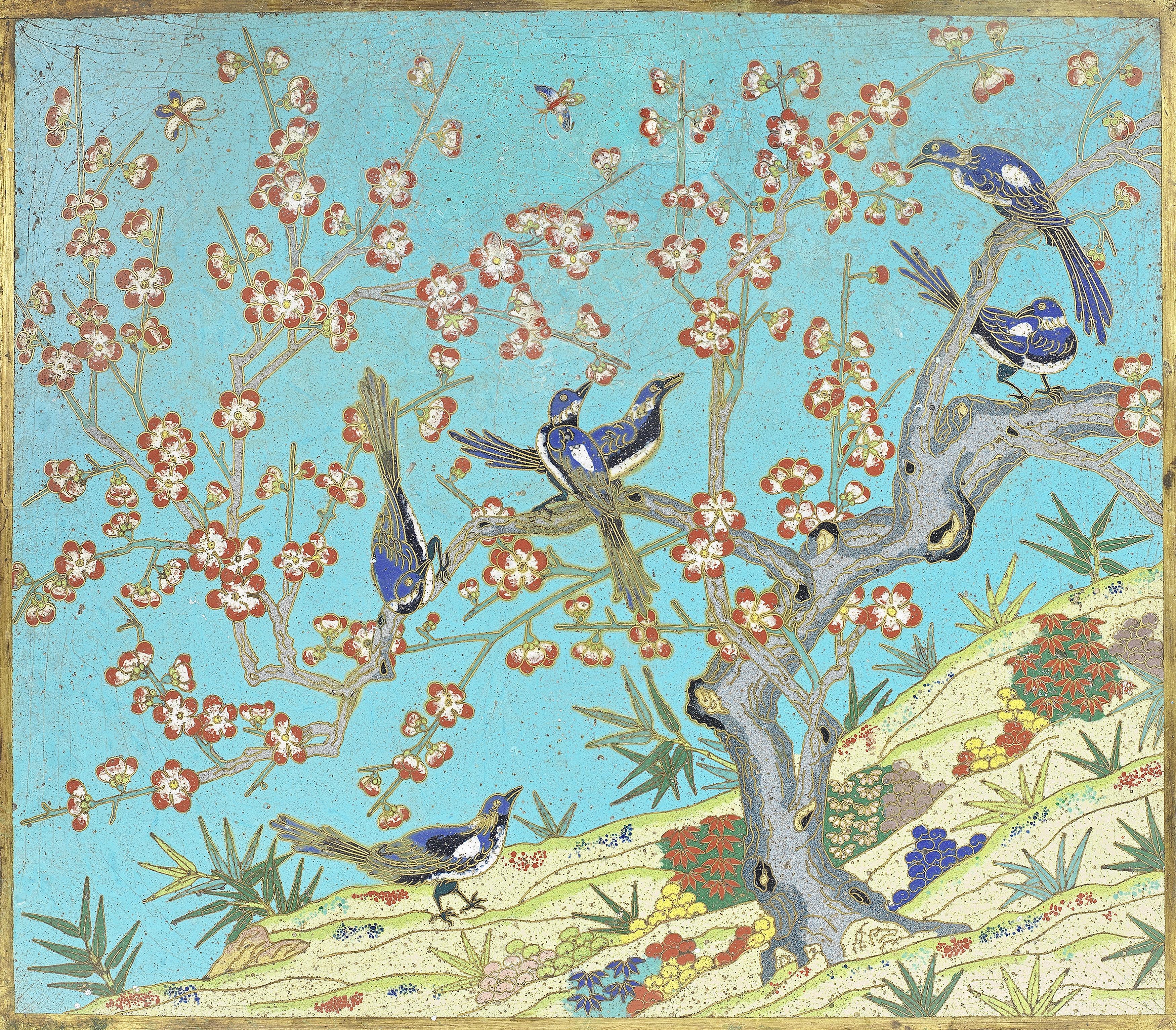 A FINE CLOISONNÉ ENAMEL 'MAGPIES AND PRUNUS' RECTANGULAR PLAQUE Qianlong/Jiaqing