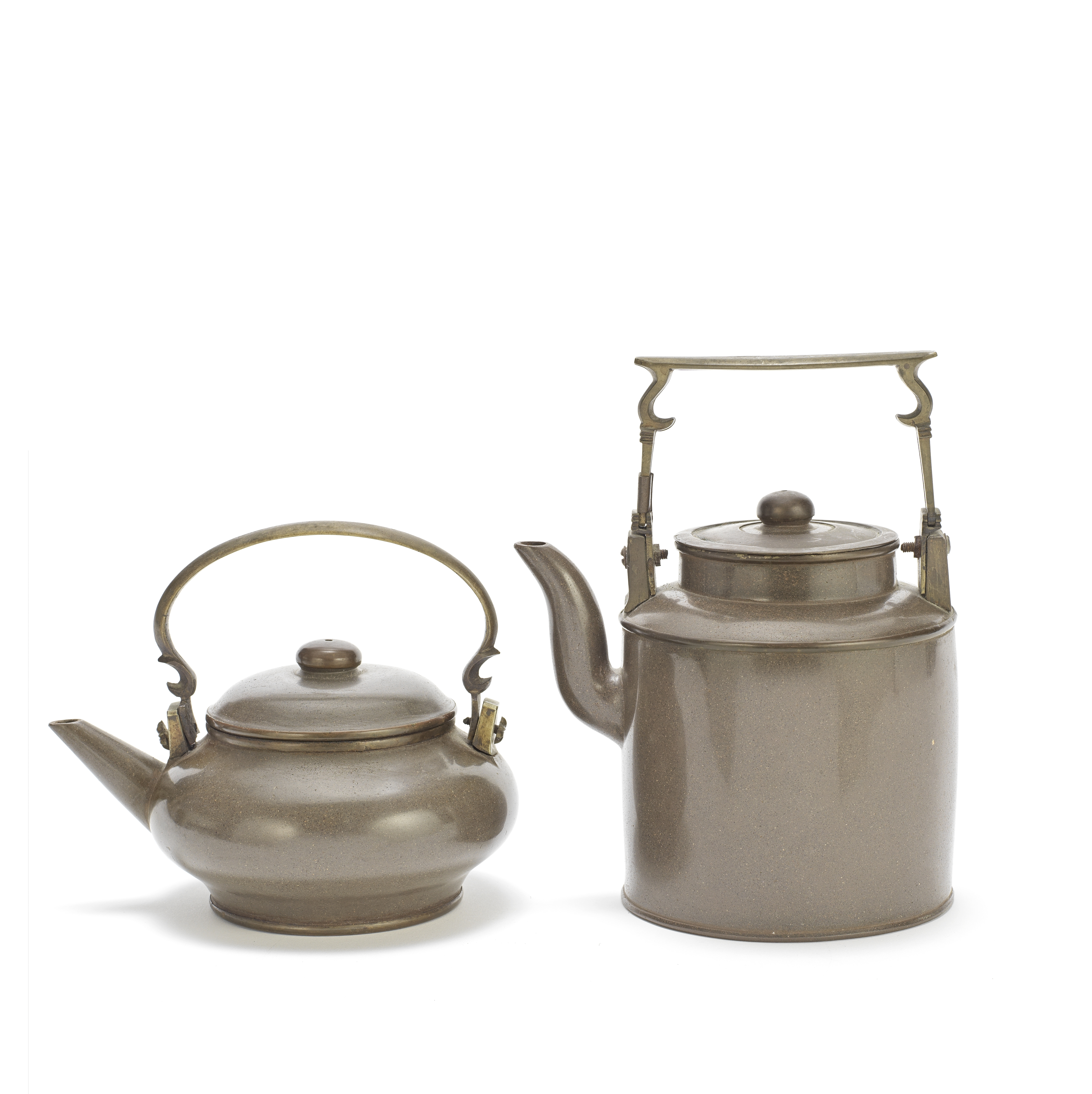 TWO 'THAI MARKET' YIXING TEAPOTS AND COVERS 19th century (2)