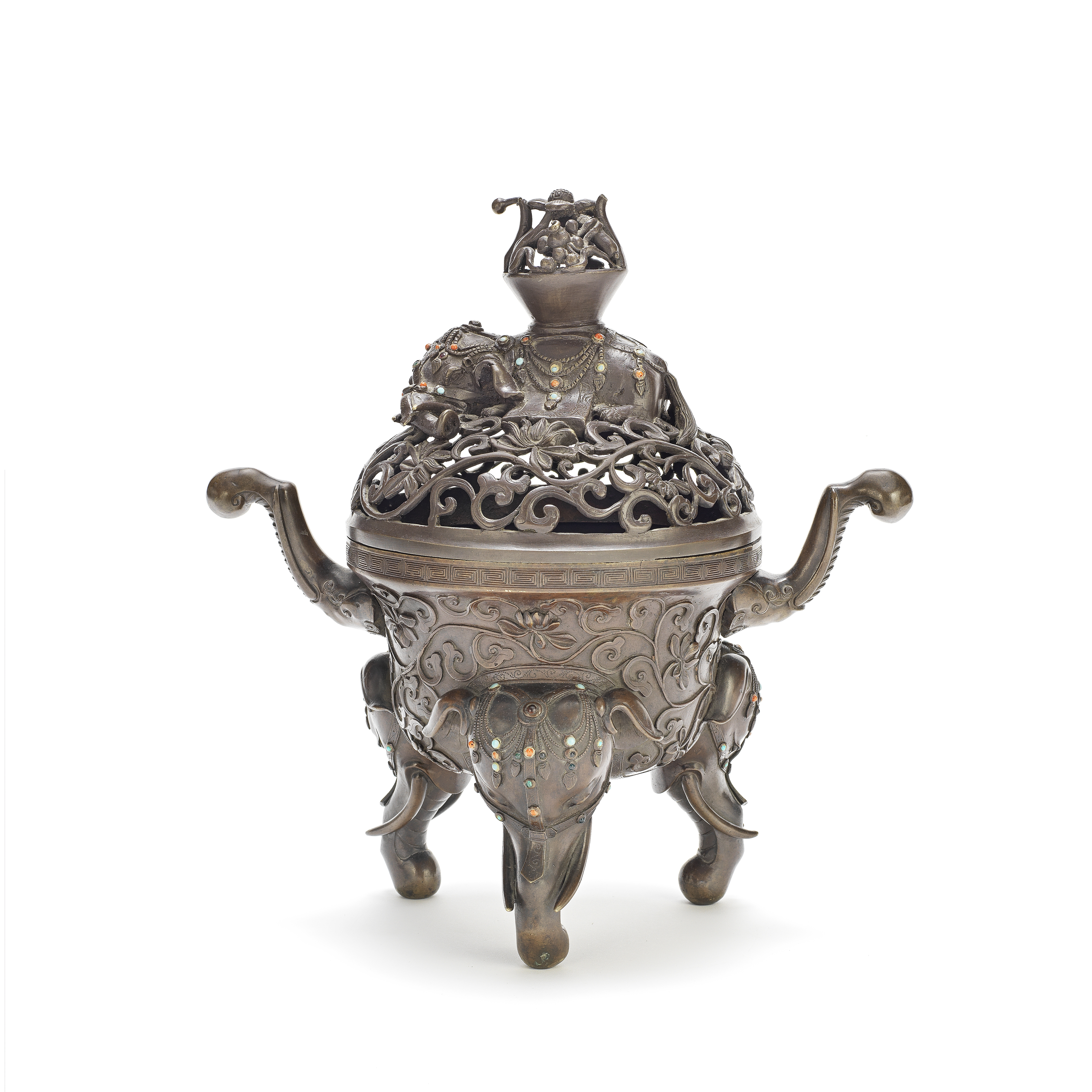 A BRONZE TRIPOD 'ELEPHANT' INCENSE BURNER AND COVER 19th century (2)