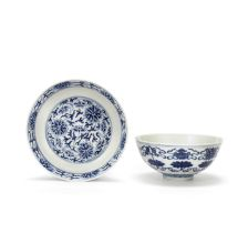 A BLUE AND WHITE 'BAJIAXIANG' BOWL AND A BLUE AND WHITE 'LOTUS' DISH Guangxu marks and of the per...