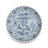 A BLUE AND WHITE 'DEER' DISH 15th/16th century