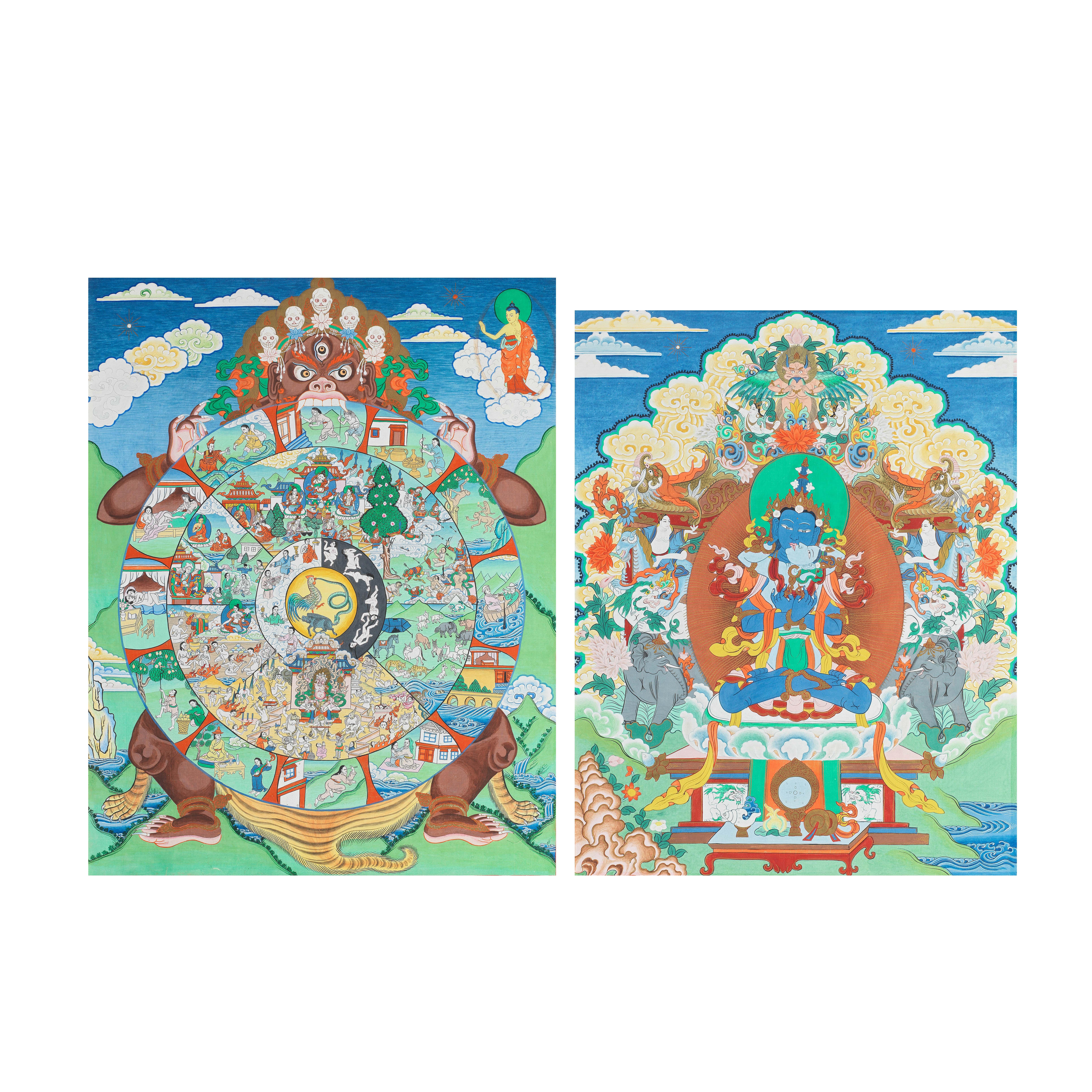 A THANGKA OF A MANDALA AND A THANGKA OF VAJRADHARA 20th century (2)