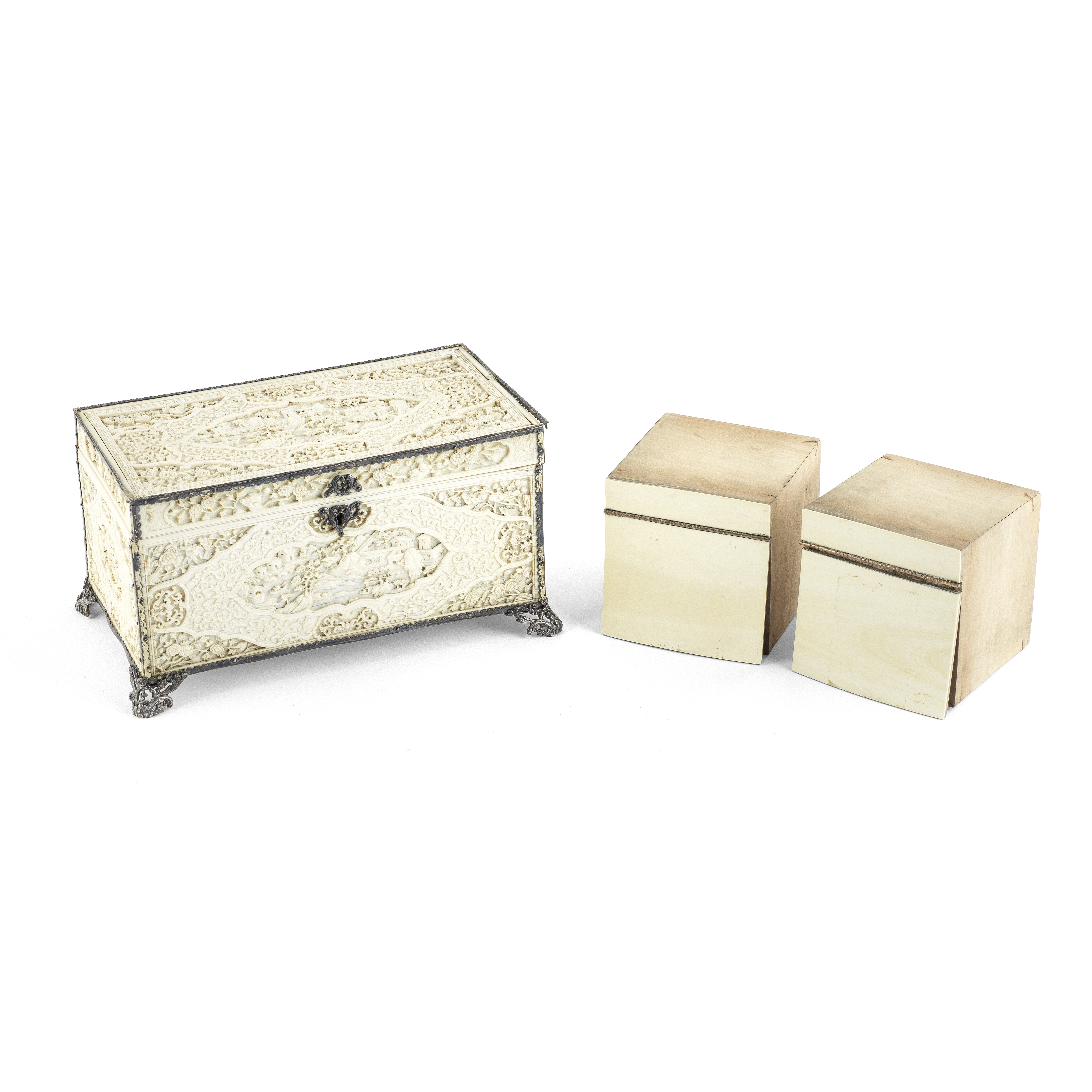A CARVED IVORY CADDY AND HINGED COVER Early 19th century (3)