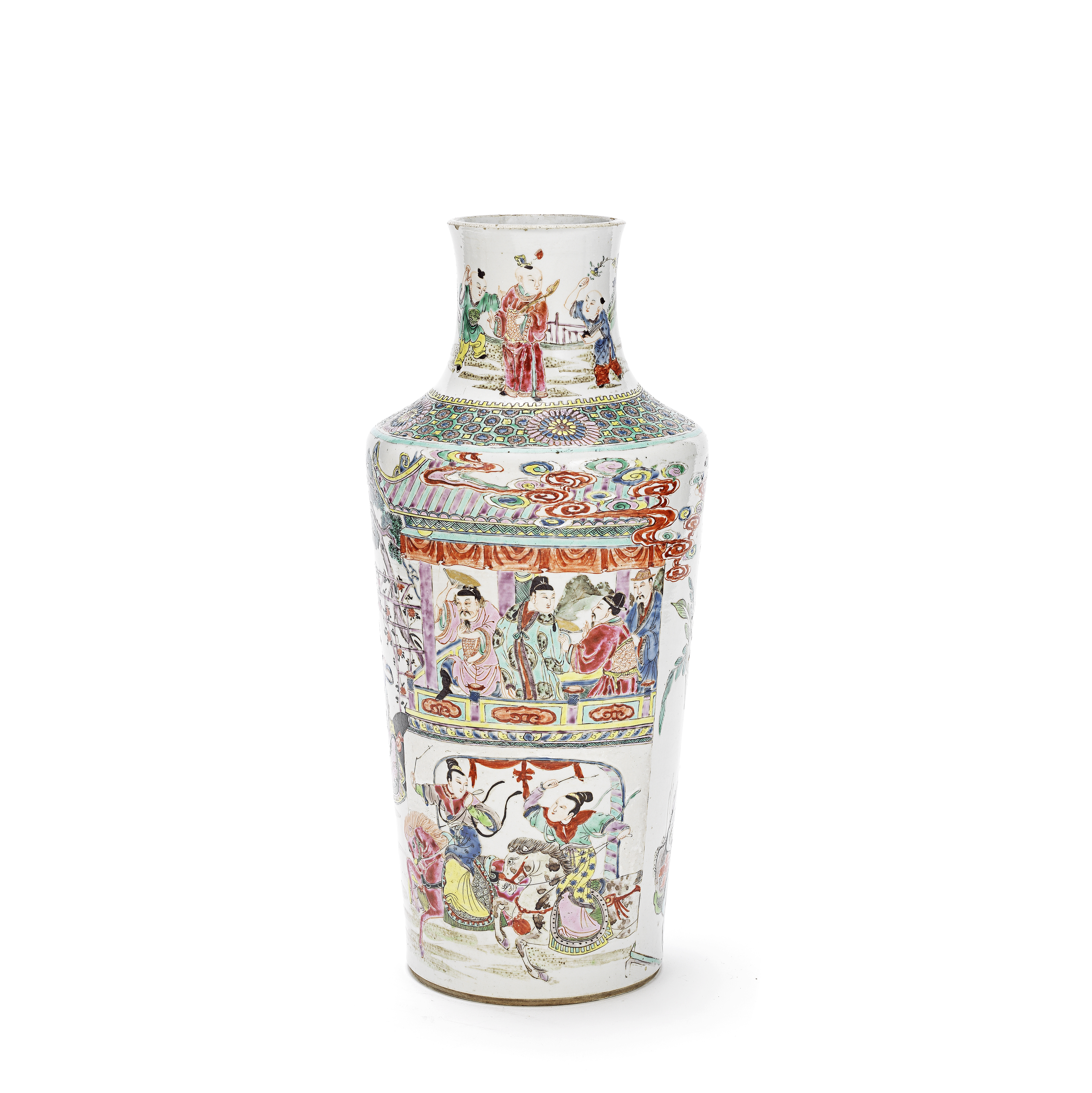 A FAMILLE ROSE 'GENERALS OF THE YANG FAMILY' VASE 19th century