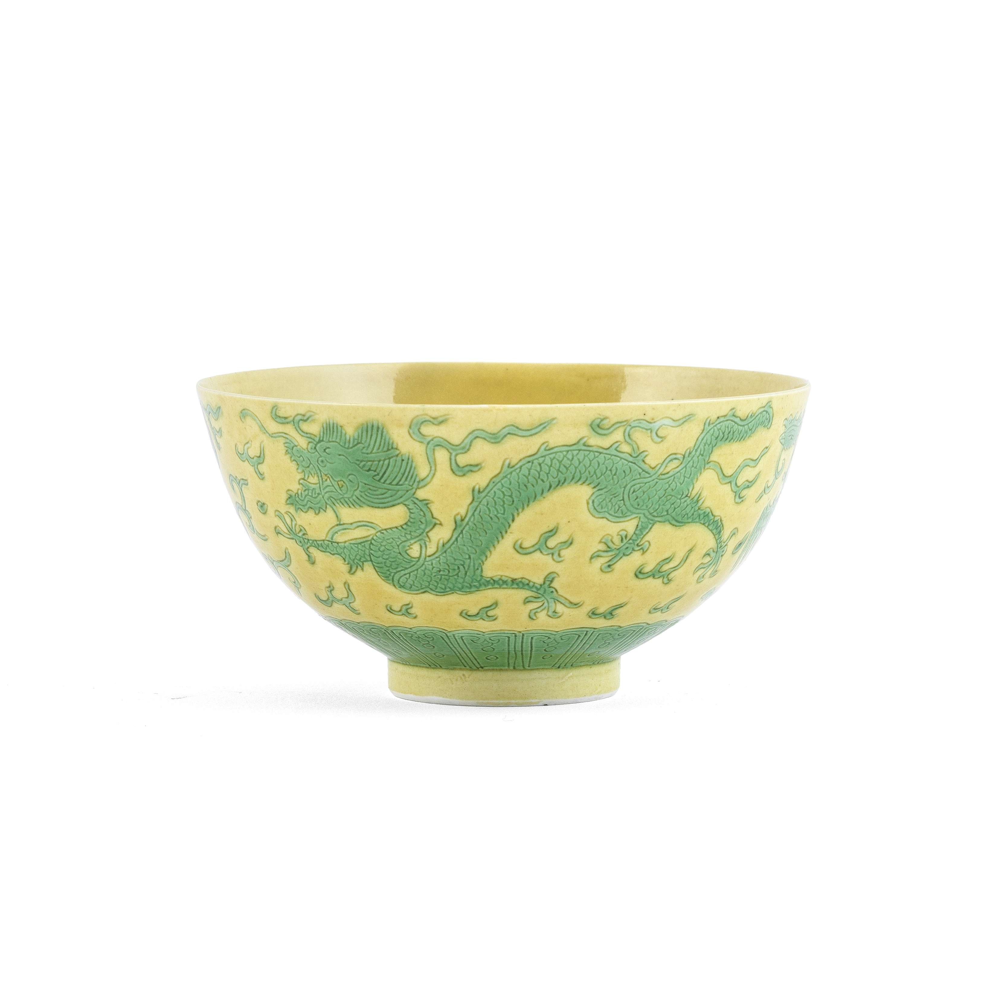 A GREEN AND YELLOW-GLAZED ANHUA 'DRAGON' BOWL Daoguang seal mark and of the period