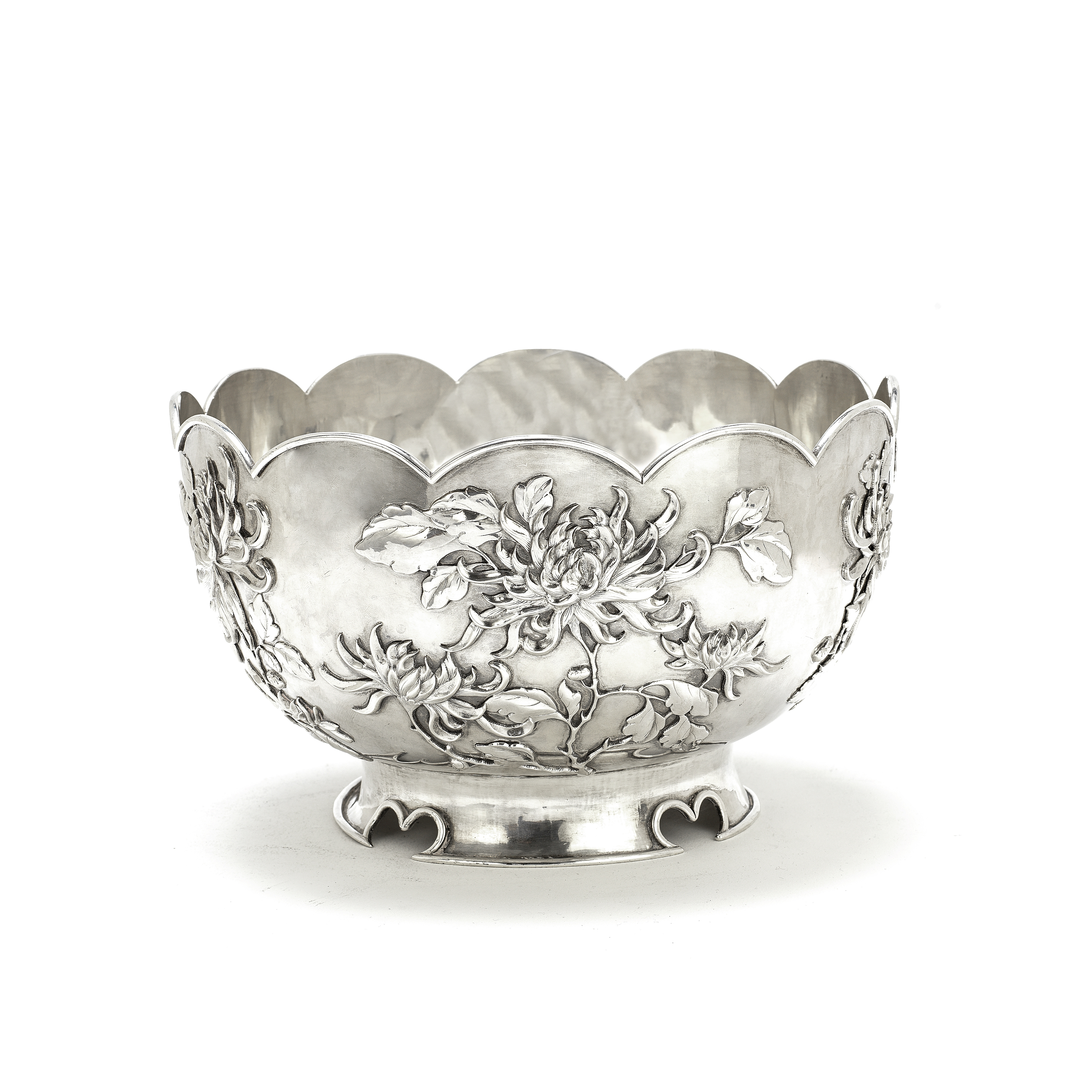 A CHINESE EXPORT SILVER 'CHRYSANTHEMUM' BOWL Mark of Wen Wei Ji, retailed by Wang Hing & Co., Can...