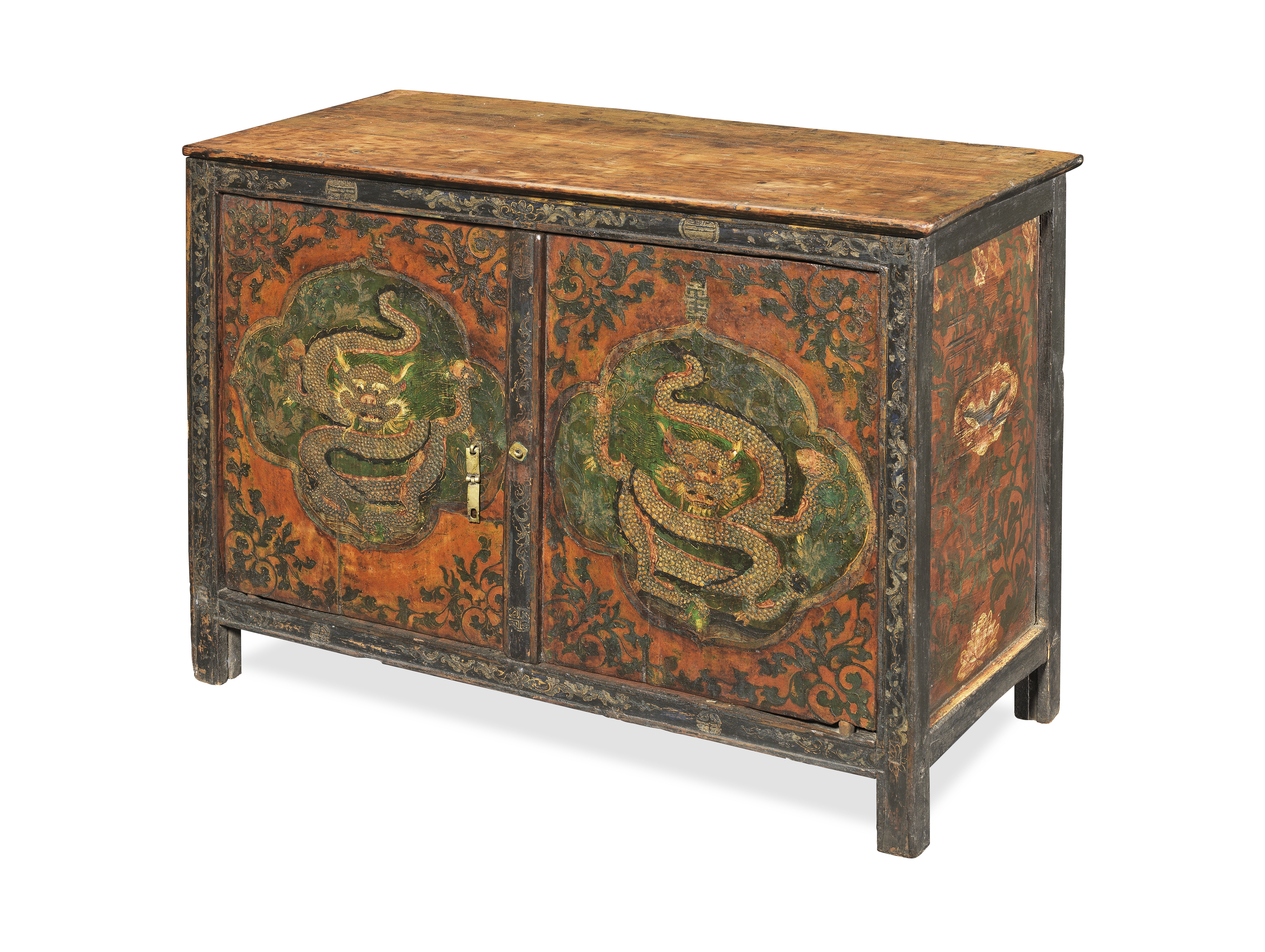 A PAINTED WOOD 'DRAGON' CABINET Tibet, 19th century