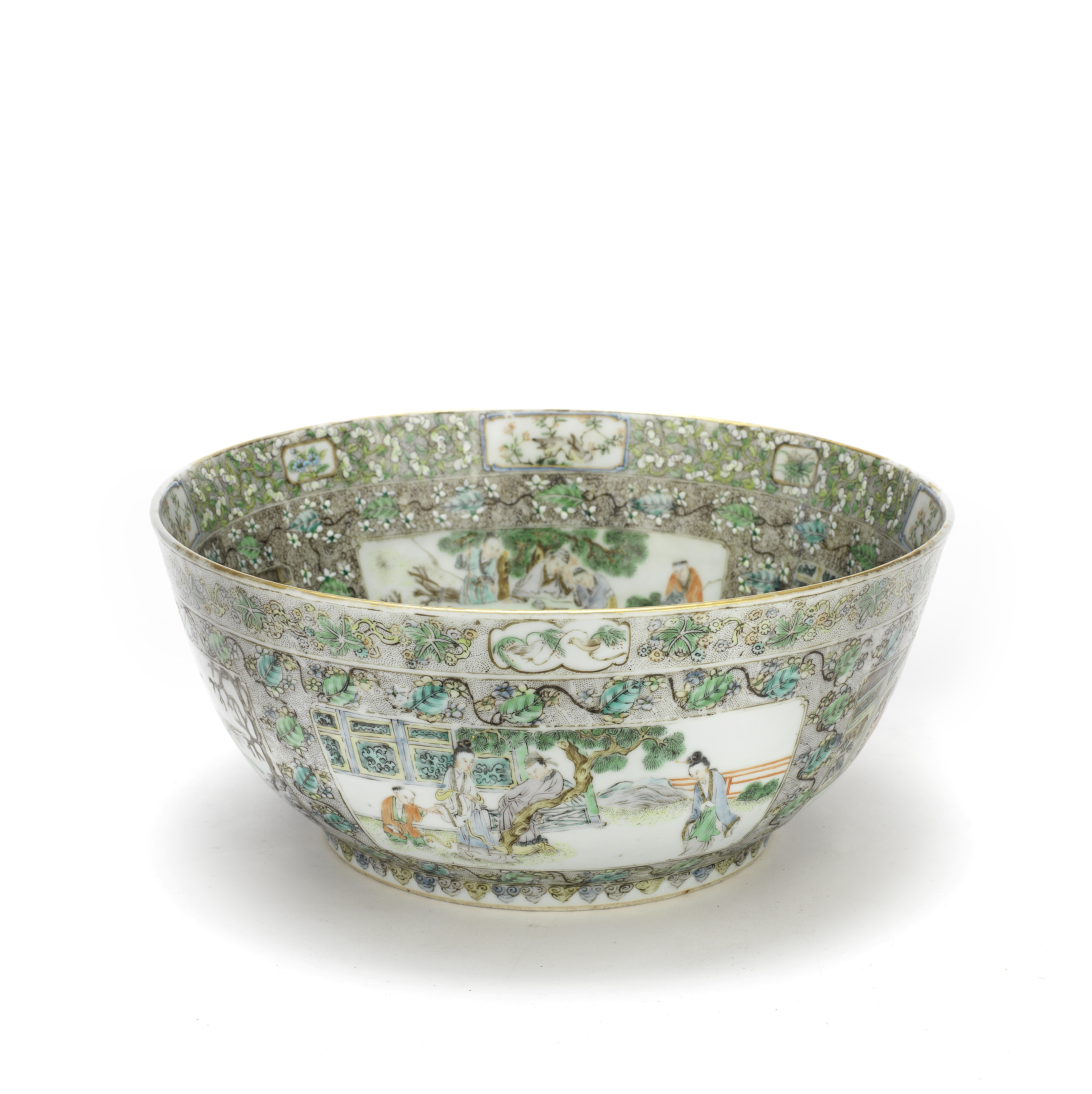 A FAMILLE VERTE PUNCH BOWL Late 19th century