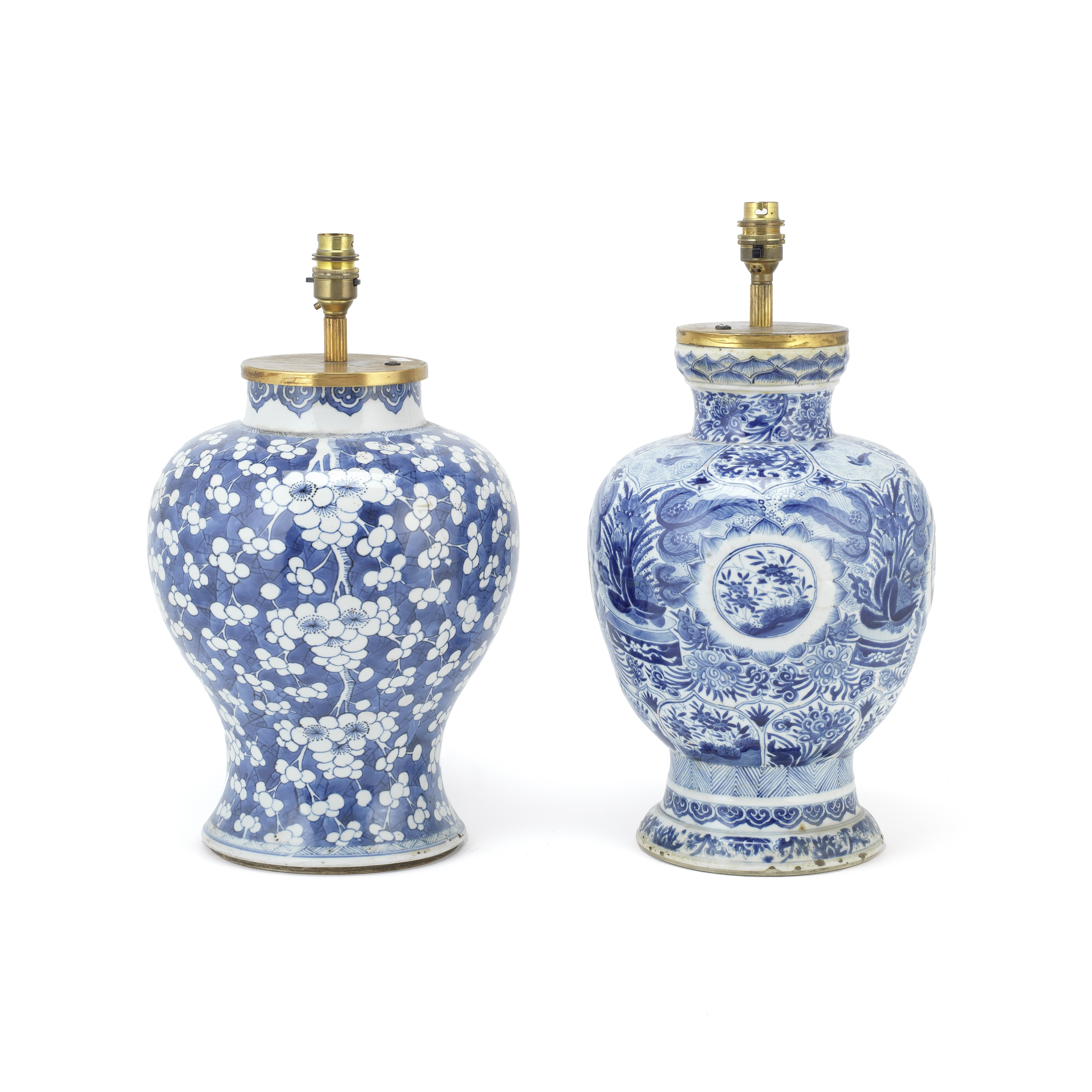 TWO BLUE AND WHITE BALUSTER VASES Kangxi (2)