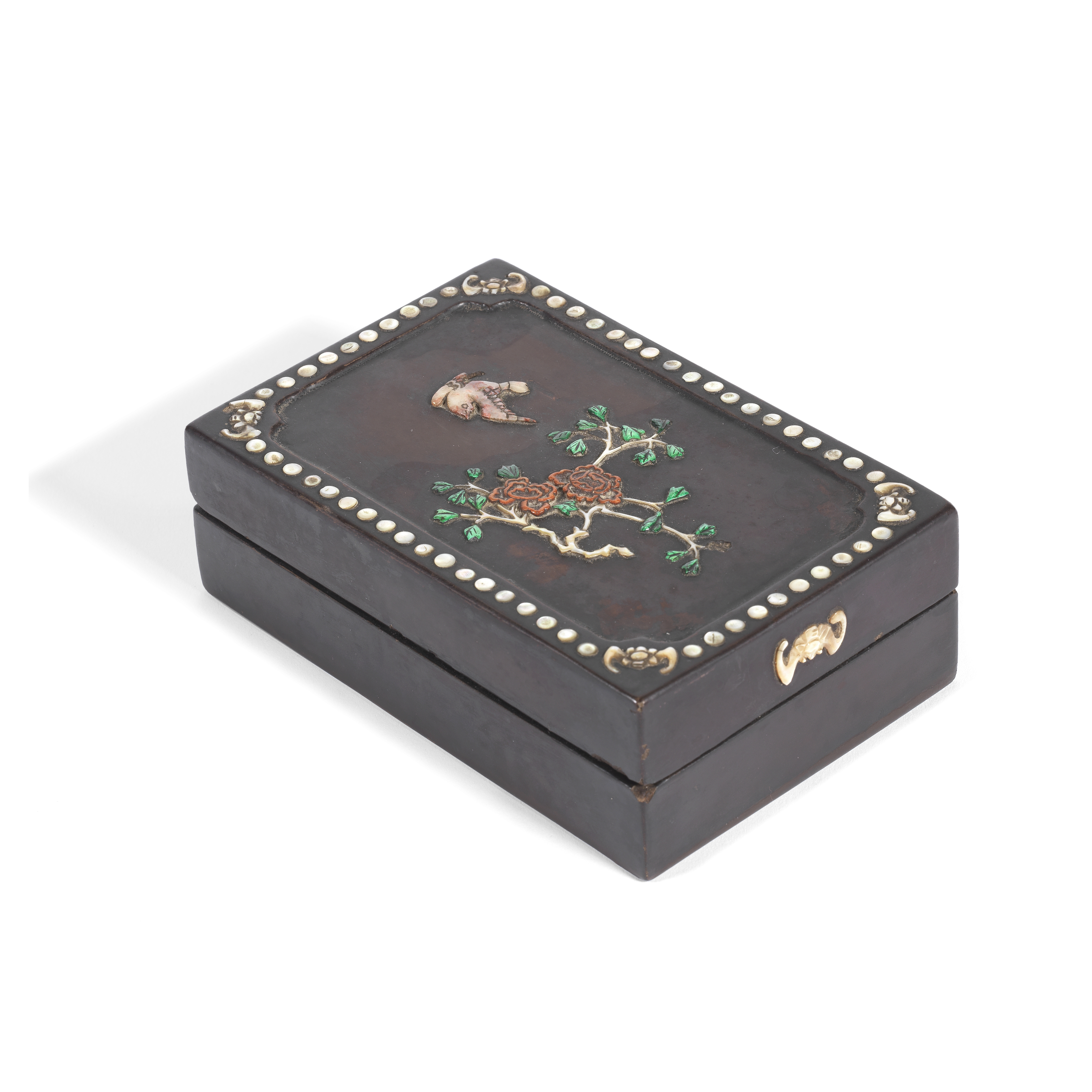 A RECTANGULAR MOTHER-OF-PEARL AND HARDSTONE-INLAID LACQUER BOX AND COVER 19th century (2)