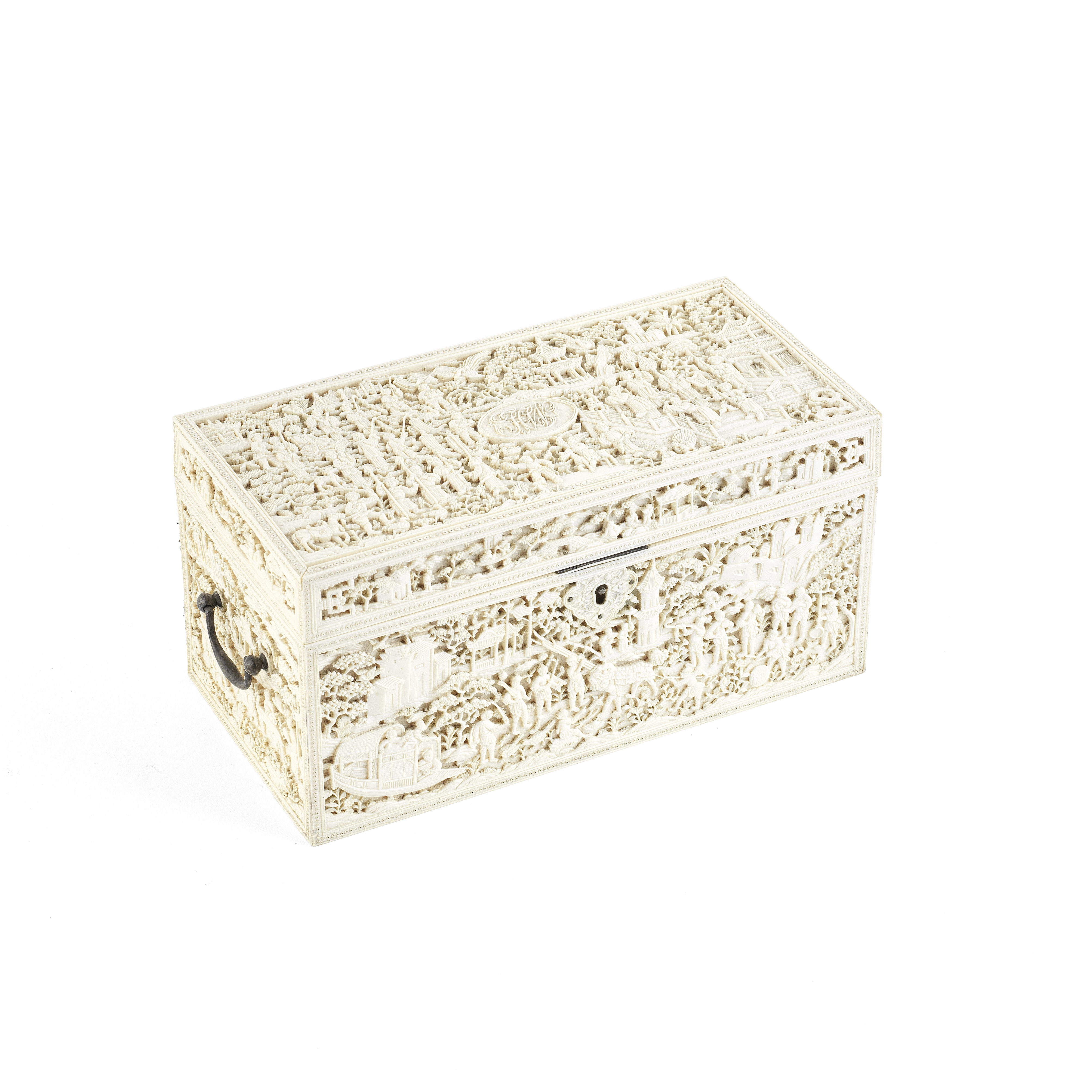 A CARVED MONOGRAMMED IVORY BOX AND HINGED COVER Early 19th century