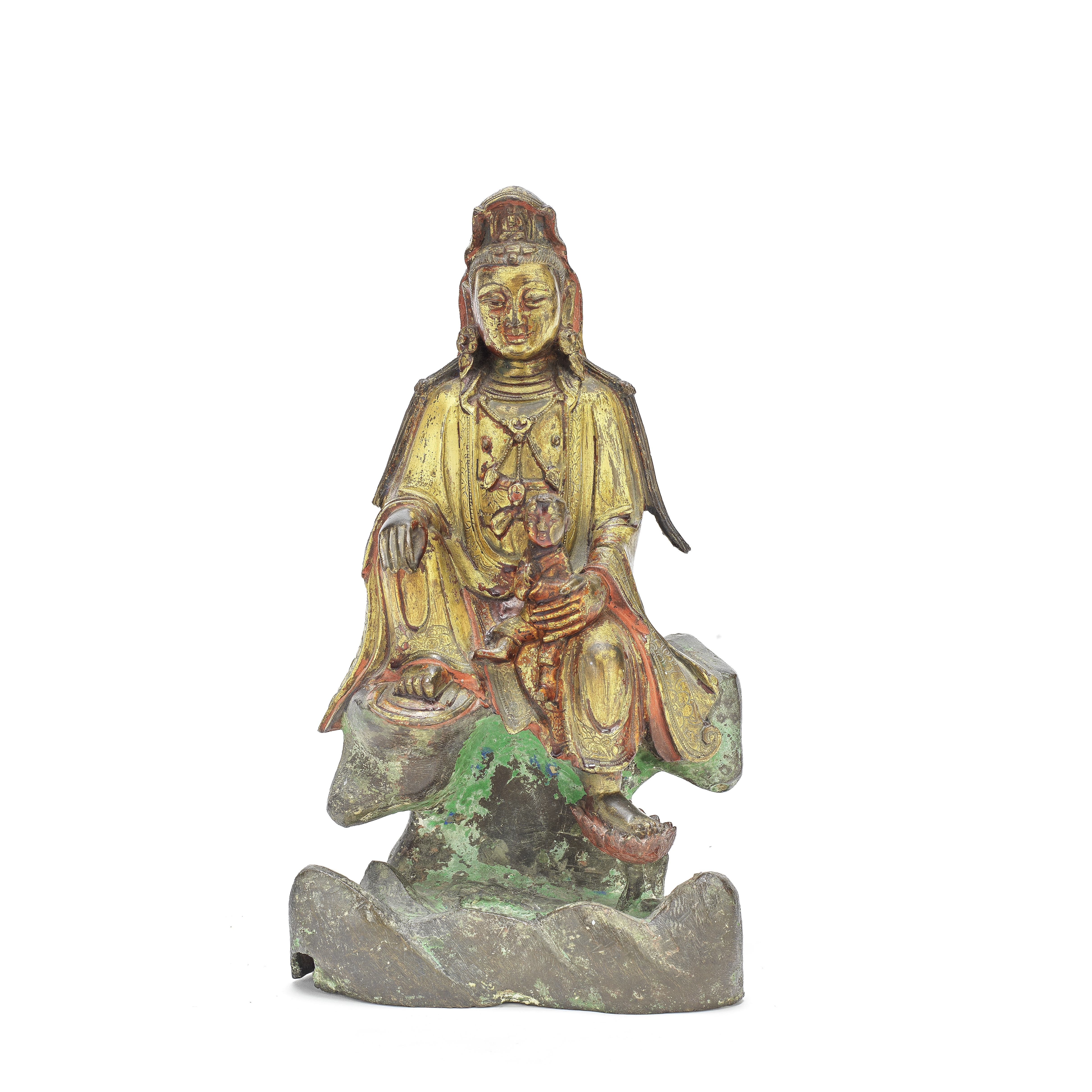 A GILT AND LACQUERED BRONZE FIGURE OF GUANYIN Ming Dynasty or later