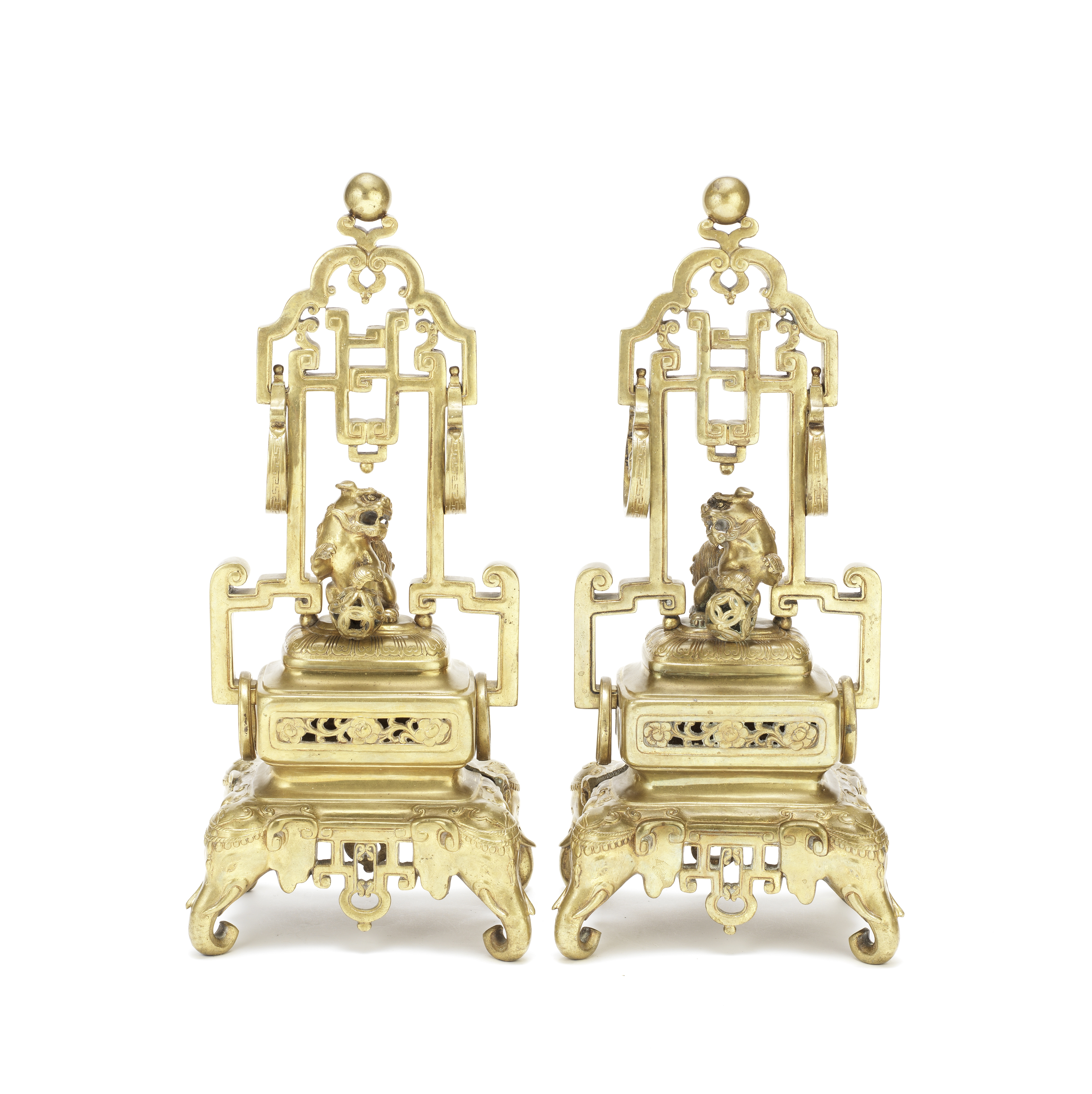 A PAIR OF CHINESE-STYLE BRASS STANDS (2)