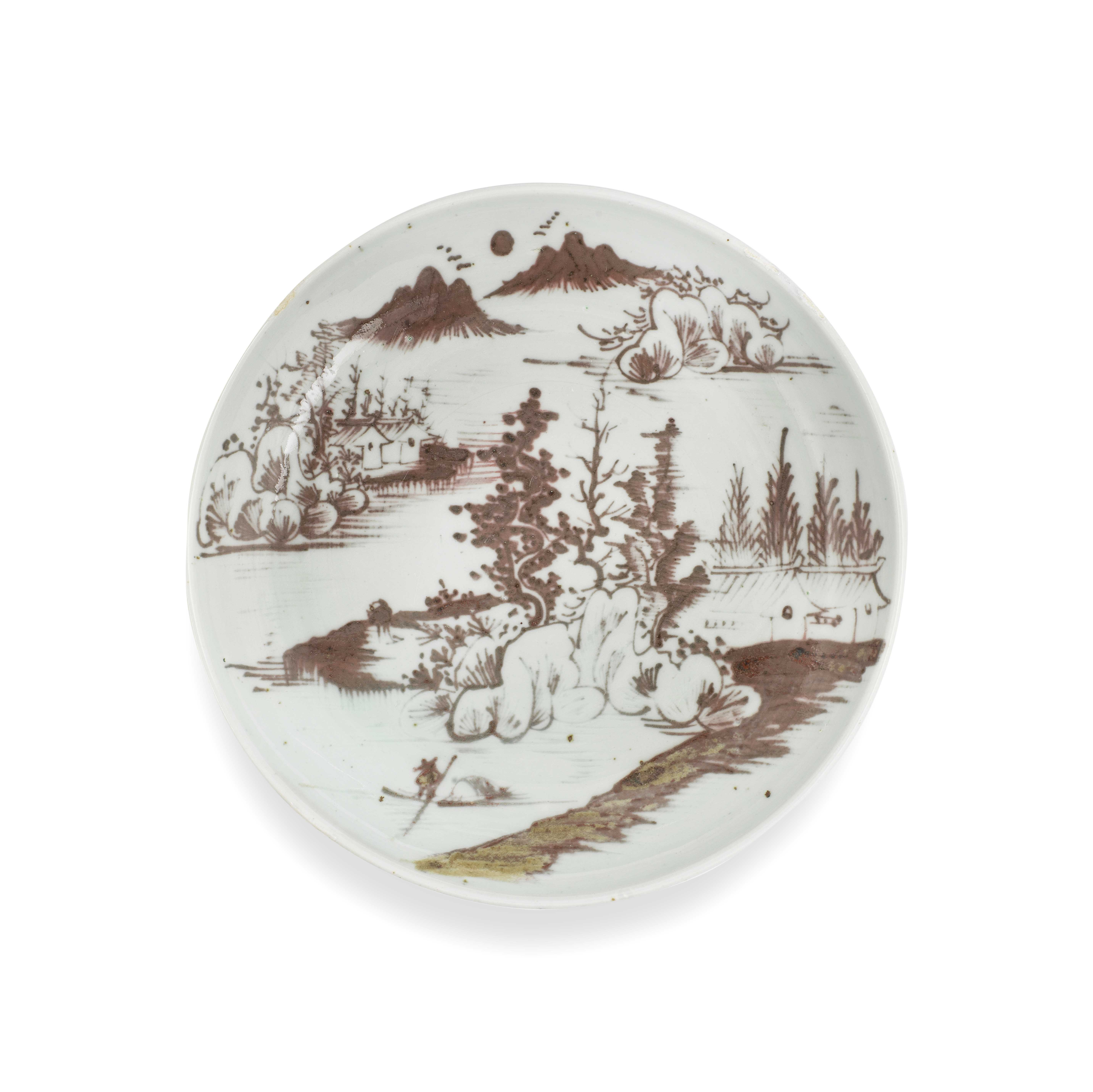 A COPPER-RED 'LANDSCAPE' DISH Qing Dynasty