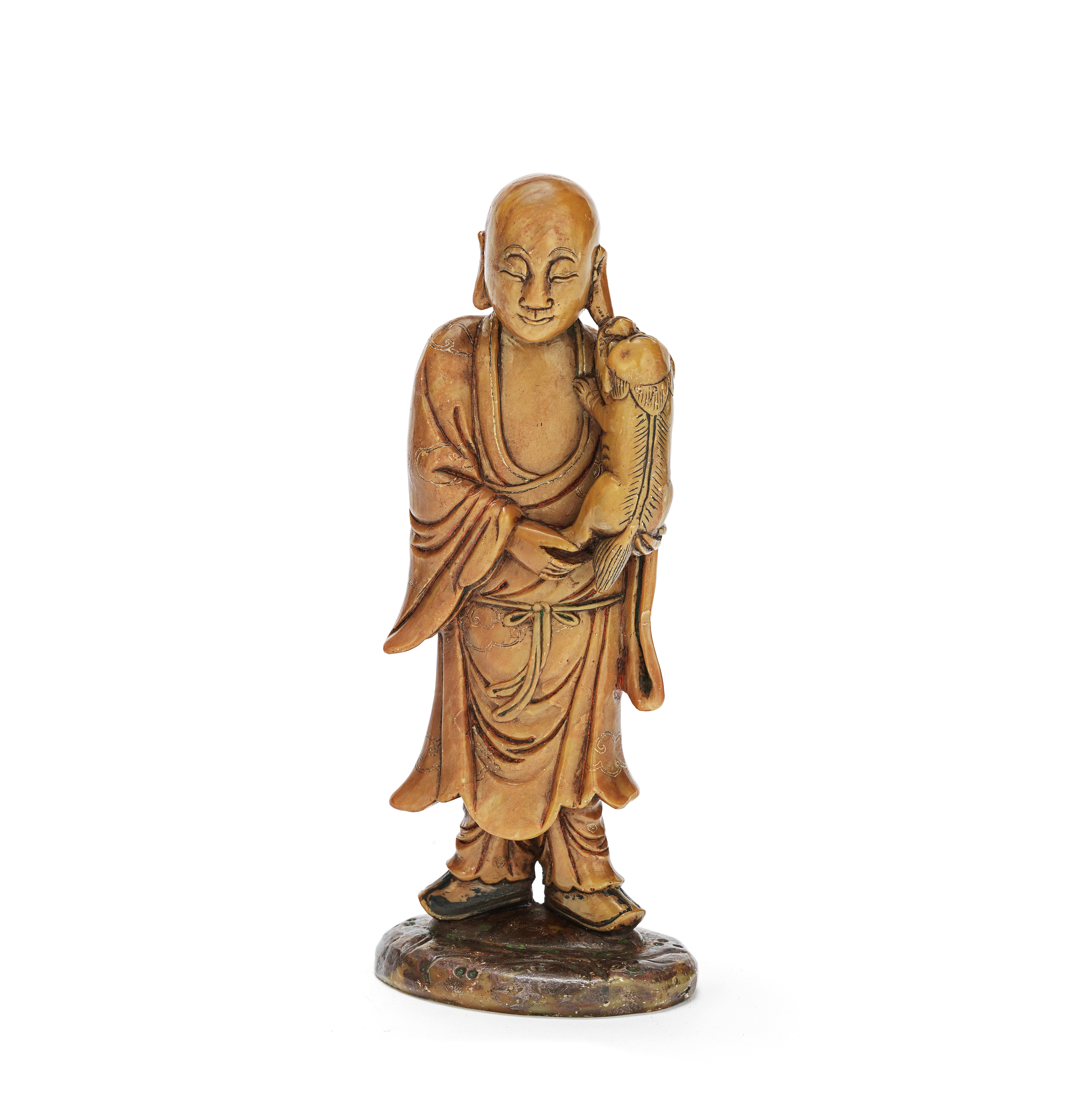 A SOAPSTONE FIGURE OF A MONK 19th century