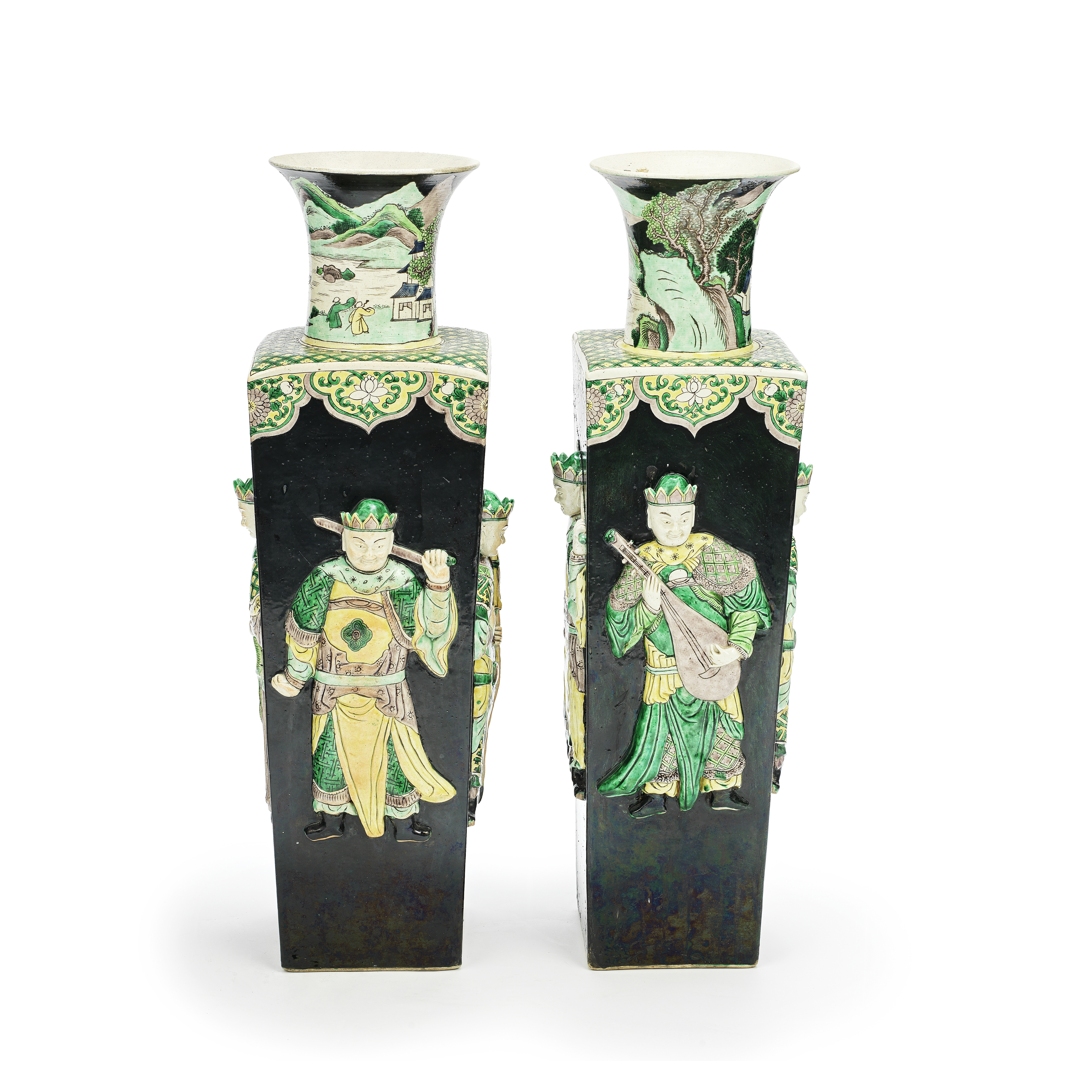 A PAIR OF LARGE BLACK-GROUND FAMILLE VERTE BISCUIT FIGURAL VASES 19th century (4)
