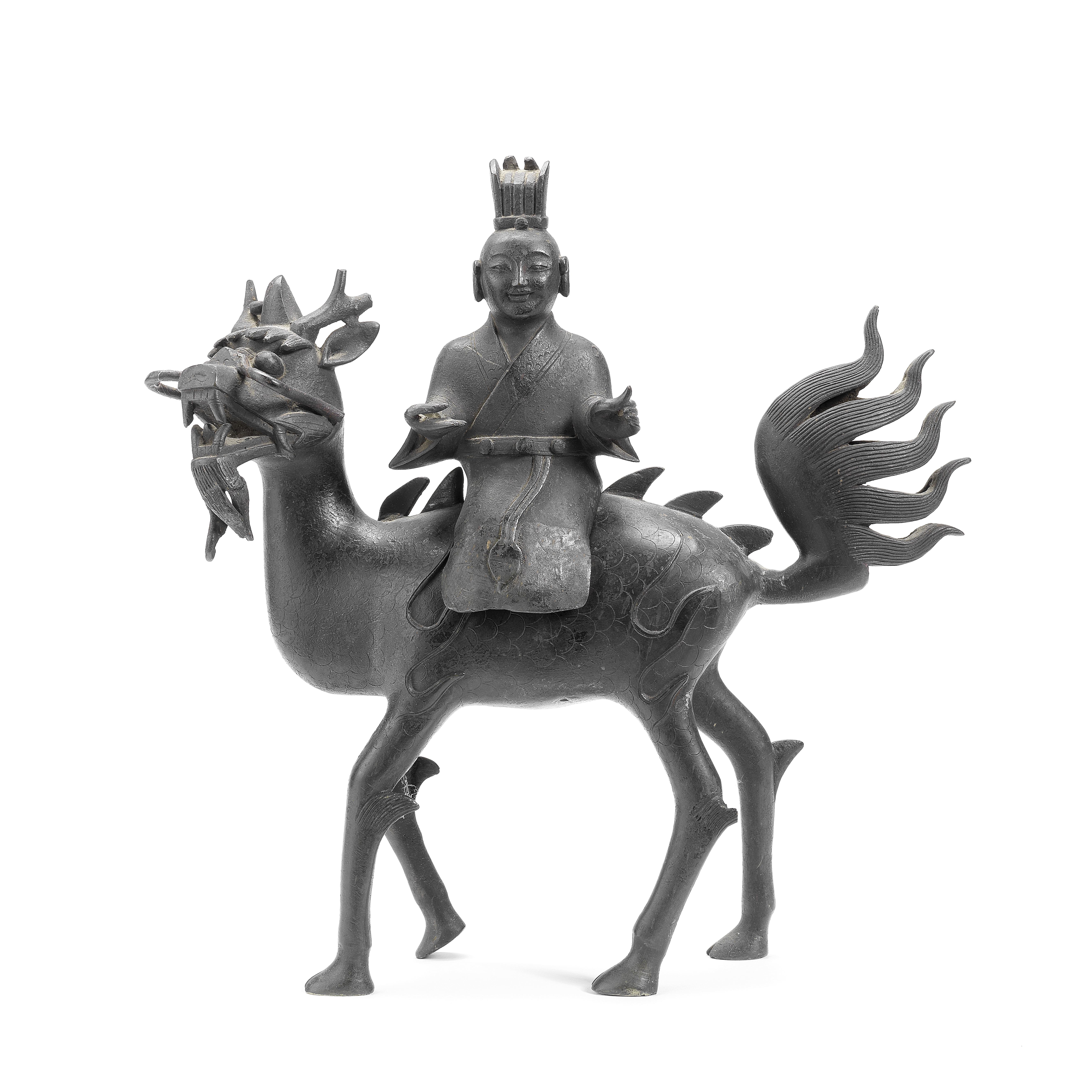 A BRONZE 'IMMORTAL AND KYLIN' INCENSE BURNER Ming Dynasty (2)