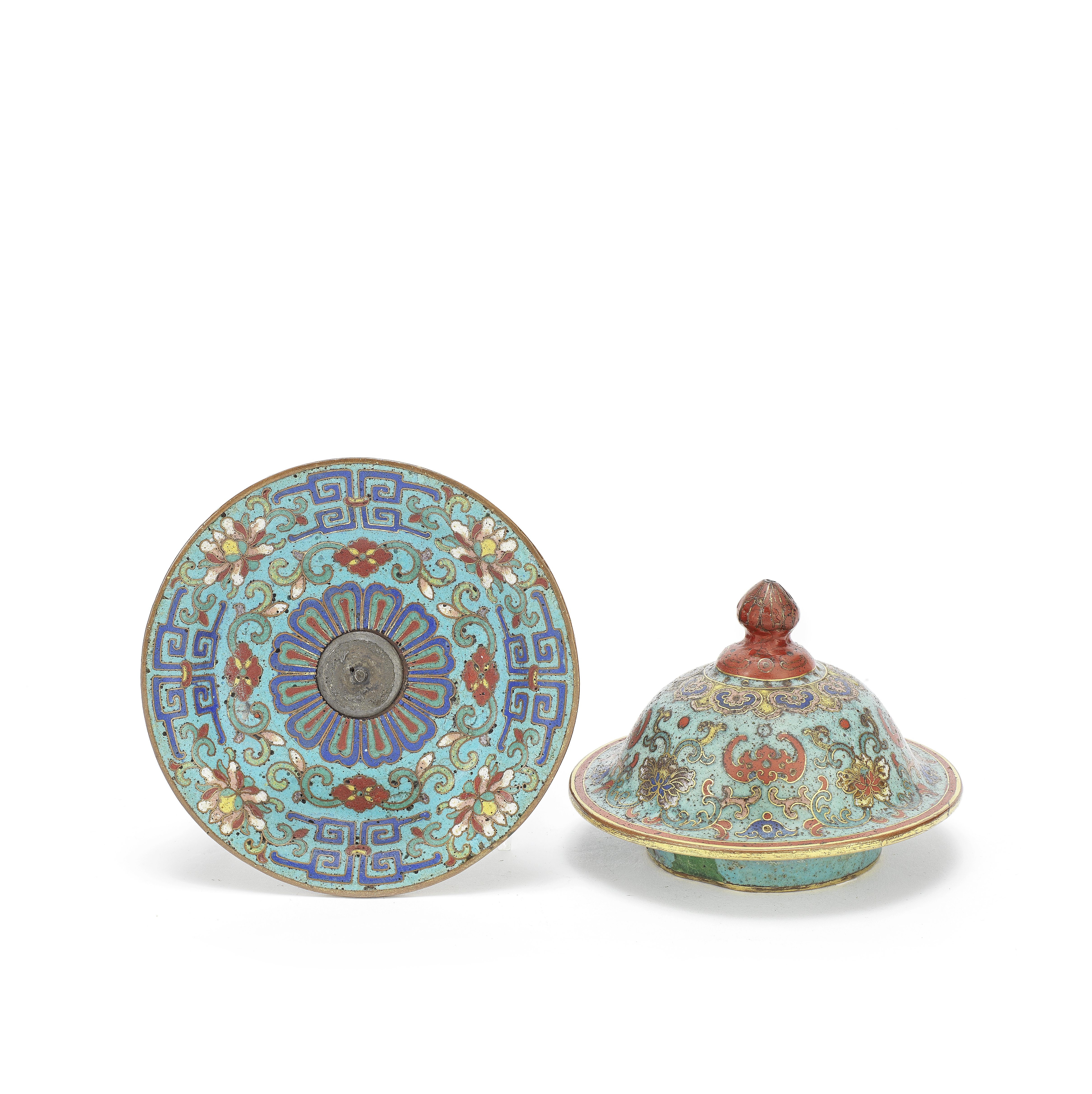 A CLOISONNÉ-ENAMEL COVER AND A SMALL TRAY 18th century (2)