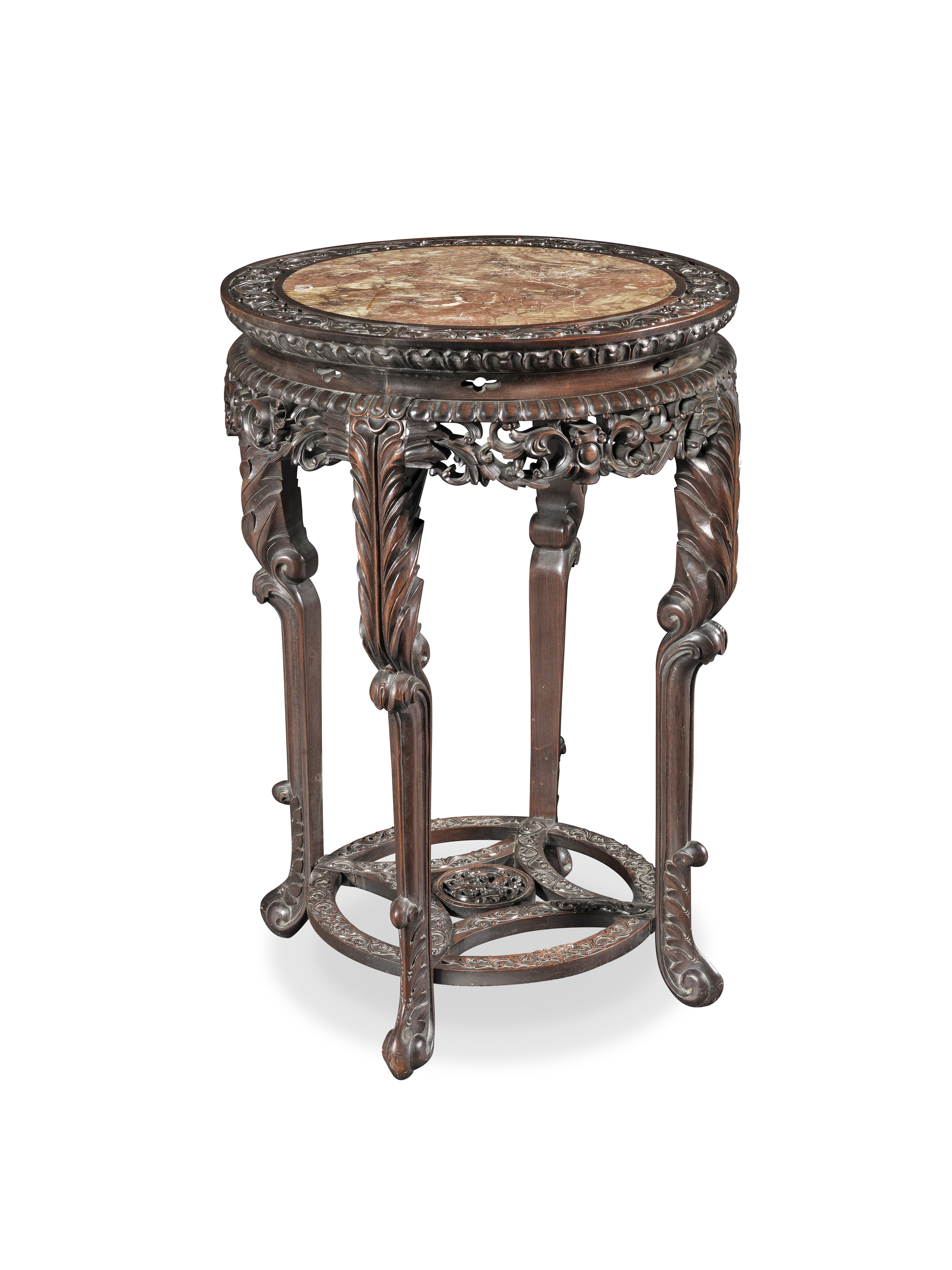 A CARVED HONGMU STAND Late 19th century