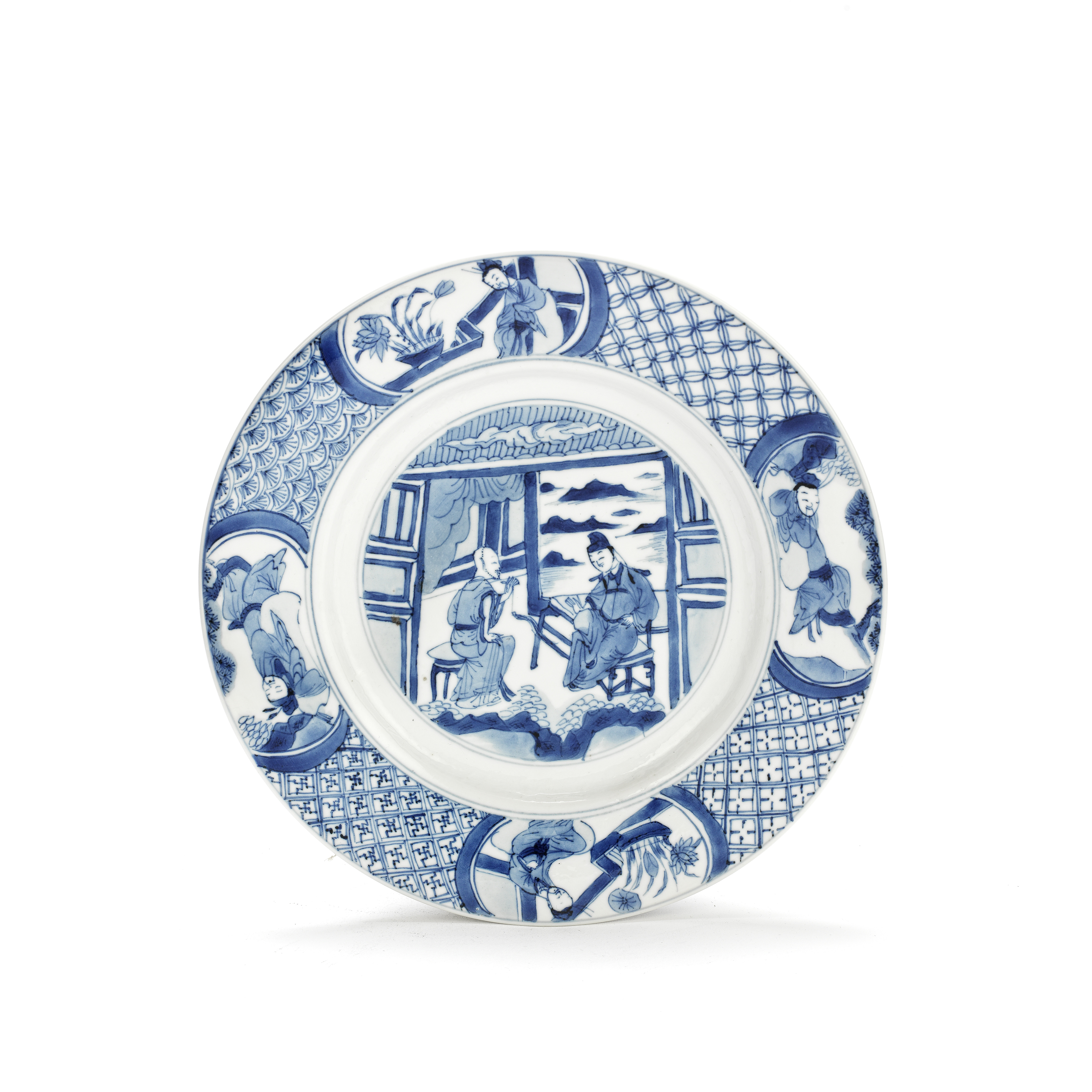 A BLUE AND WHITE FIGURAL DISH Kangxi six-character mark and of the period