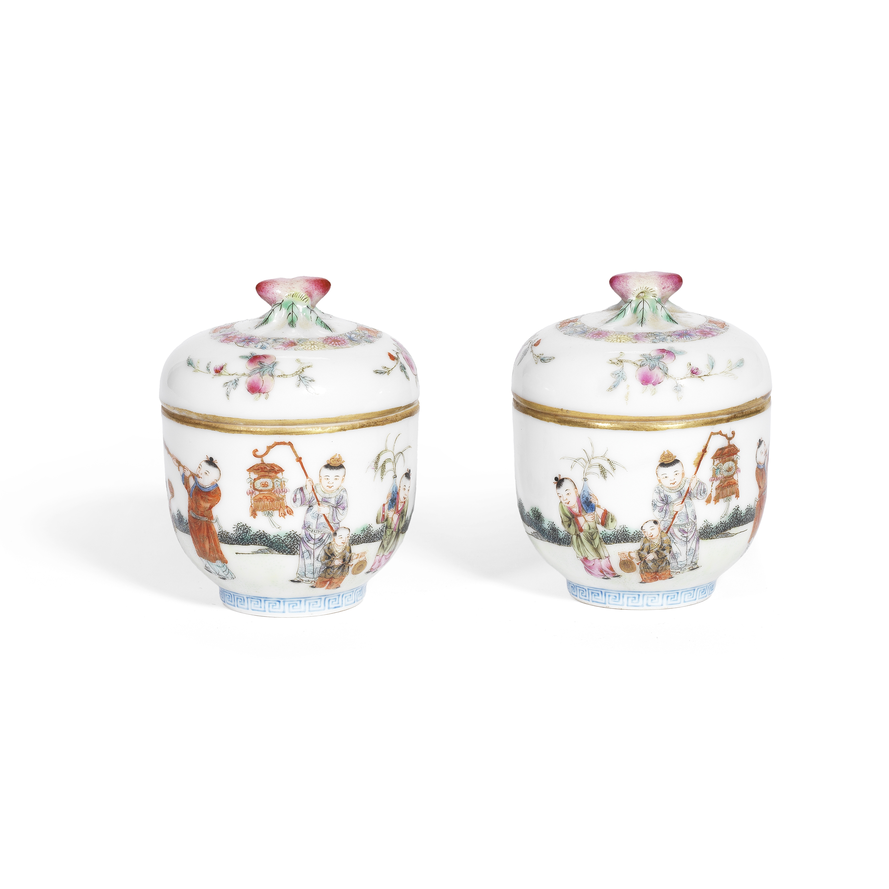 A PAIR OF FAMILLE ROSE 'SUCCESSFUL SONS' CUPS AND COVERS Lingzhi chengxiang marks, Republic (4)