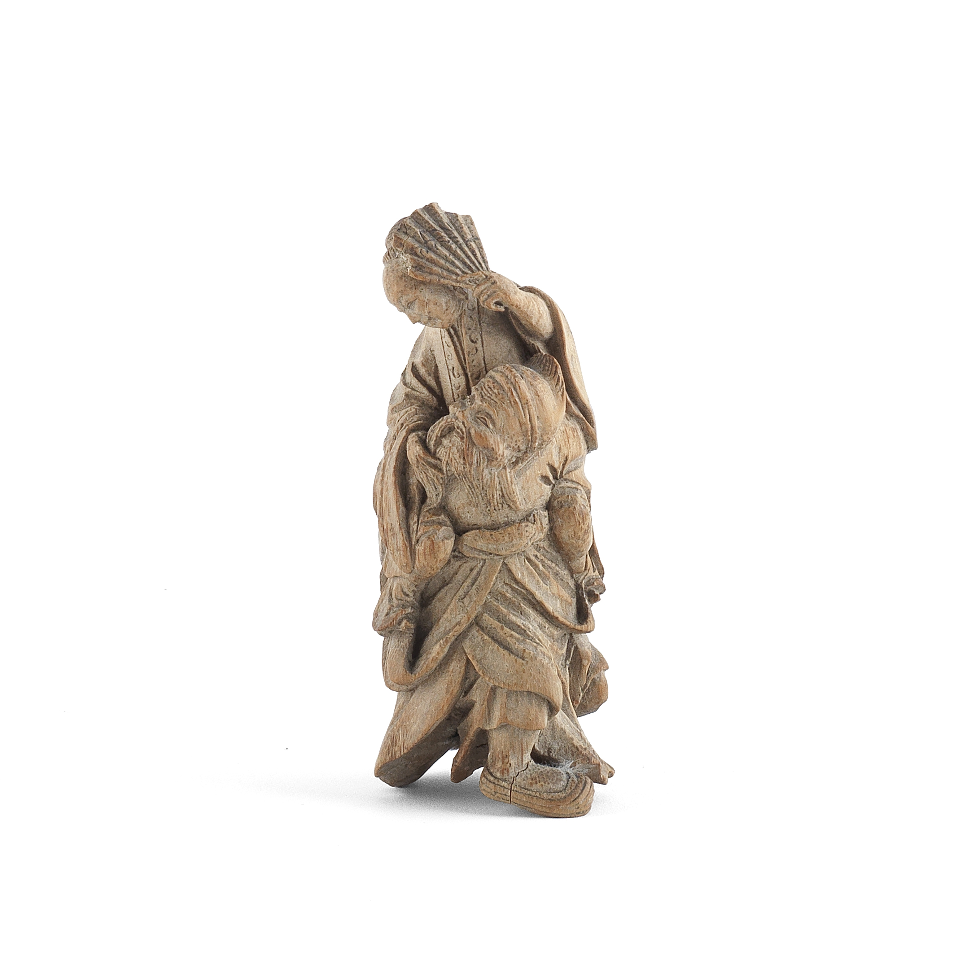A CARVED BAMBOO FIGURAL GROUP 18th/19th century