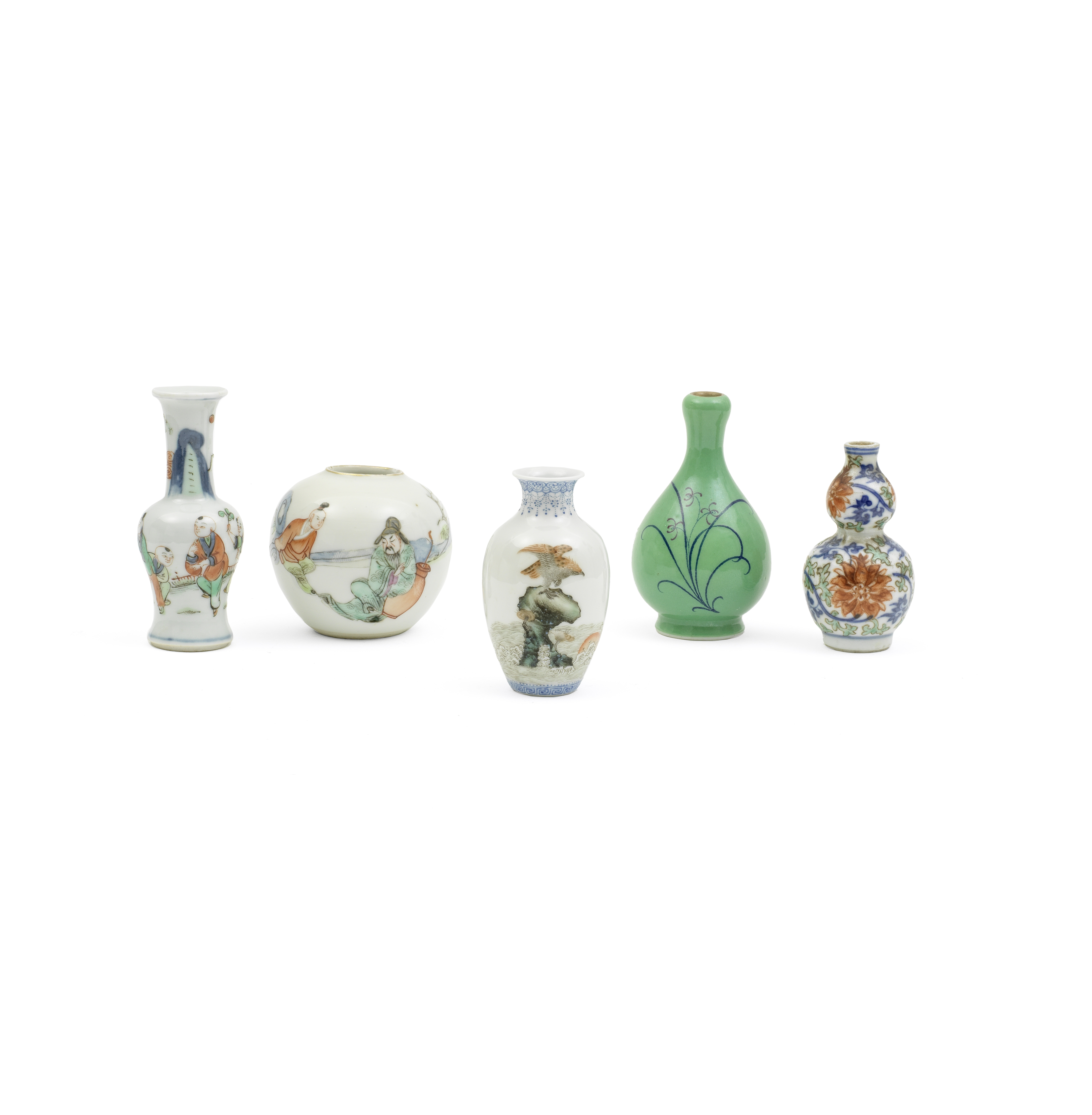 A GROUP OF FIVE MINIATURE PORCELAIN VASES Chenghua and Qianlong marks, Late Qing Dynasty to Repub...