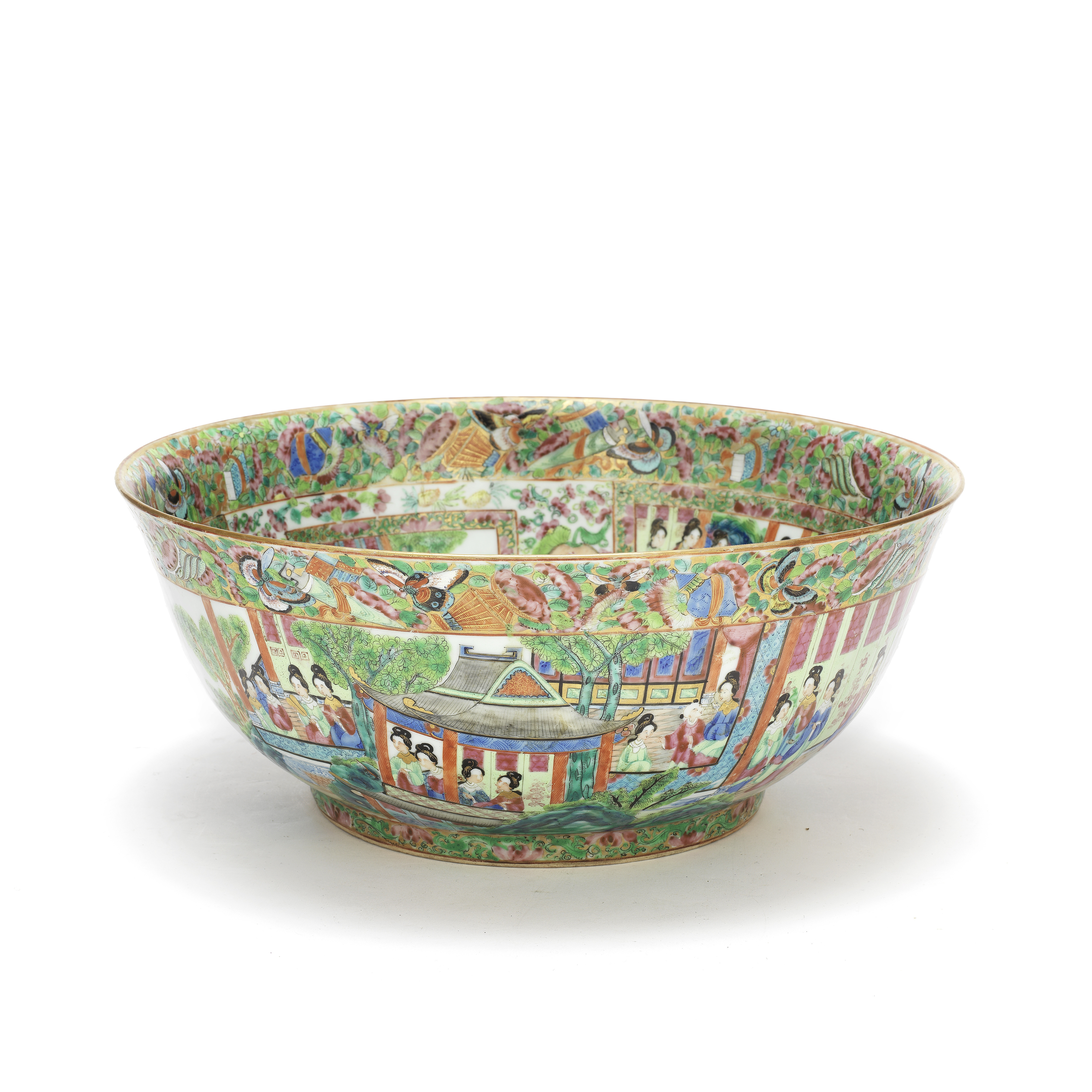 A CANTON FAMILLE ROSE PUNCH BOWL Late 19th century (2)
