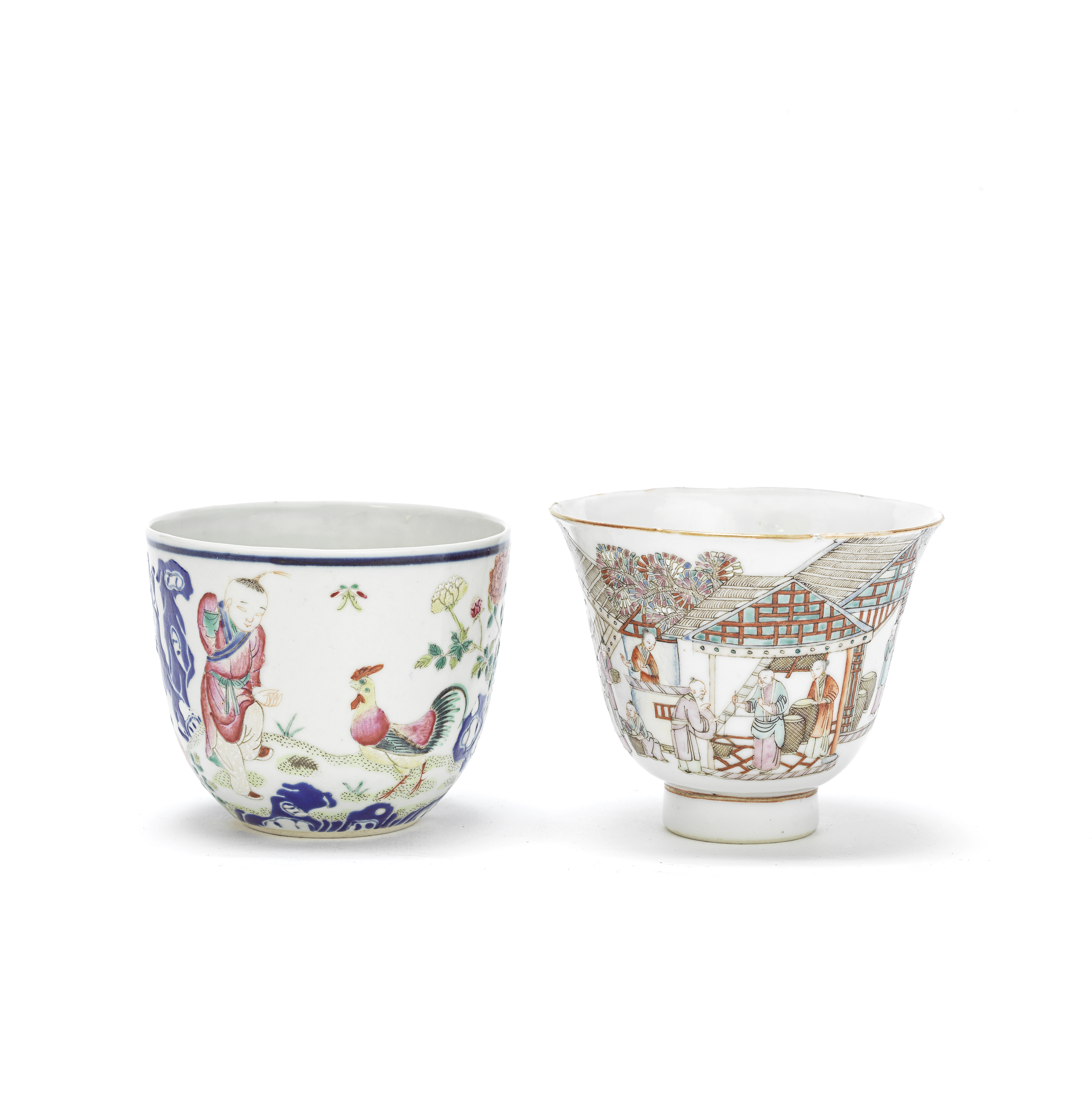 TWO FAMILLE ROSE CUPS Qianlong seal marks, probably Republic (2)