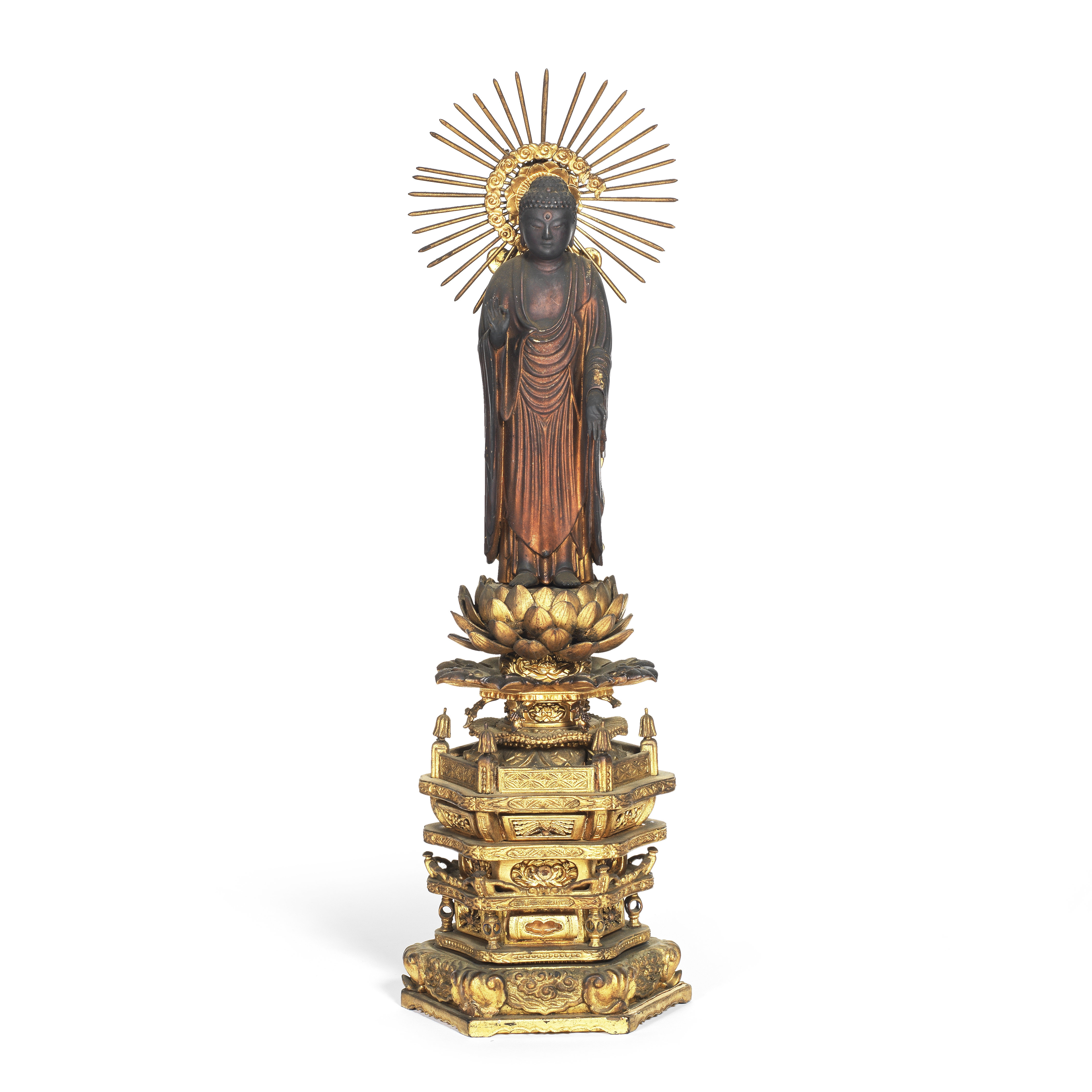 A CARVED AND GILDED WOOD STANDING FIGURE OF AMIDA BUDDHA Edo Period, 18th/19th century (5)