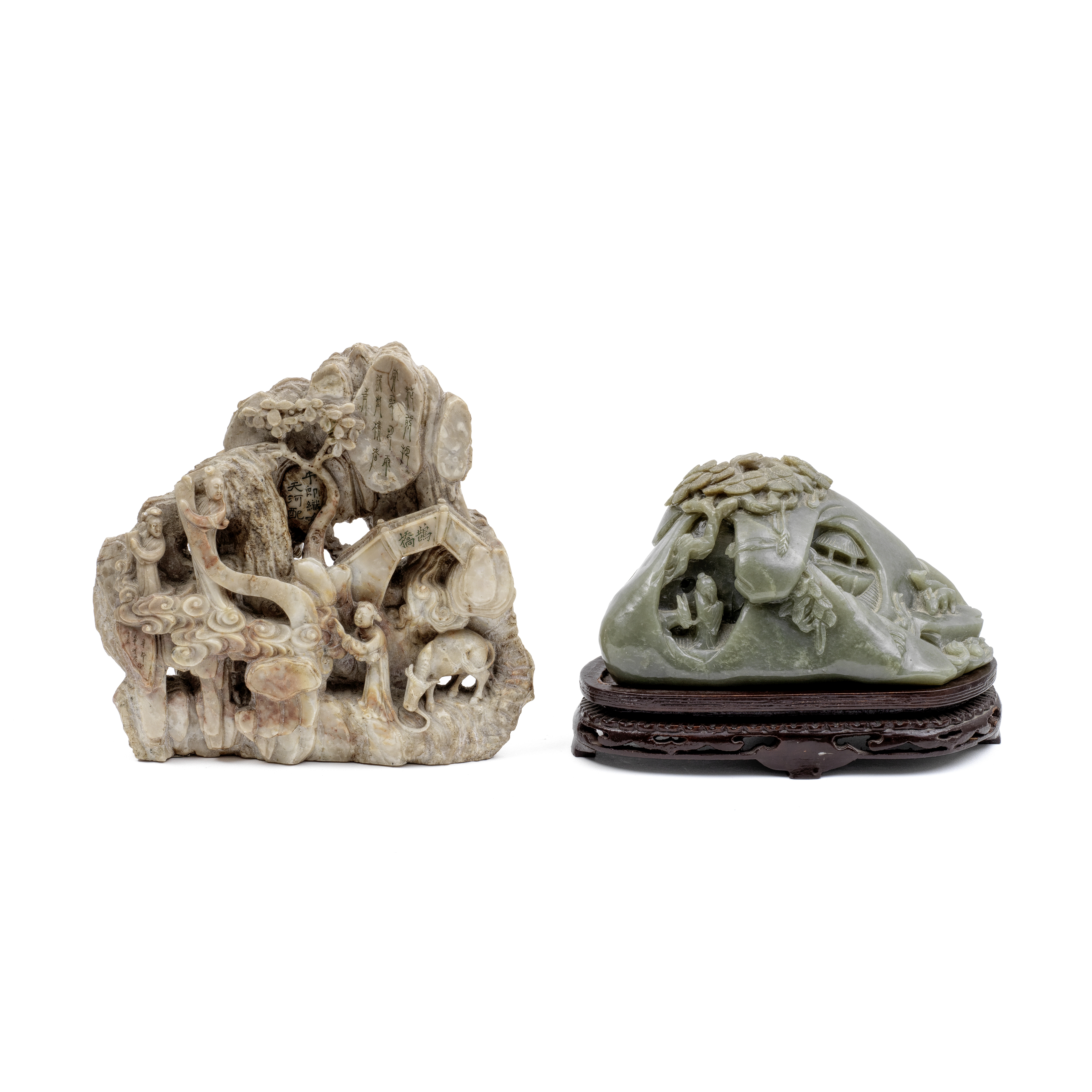 TWO LARGE BOULDER CARVINGS OF MOUNTAINS (3)