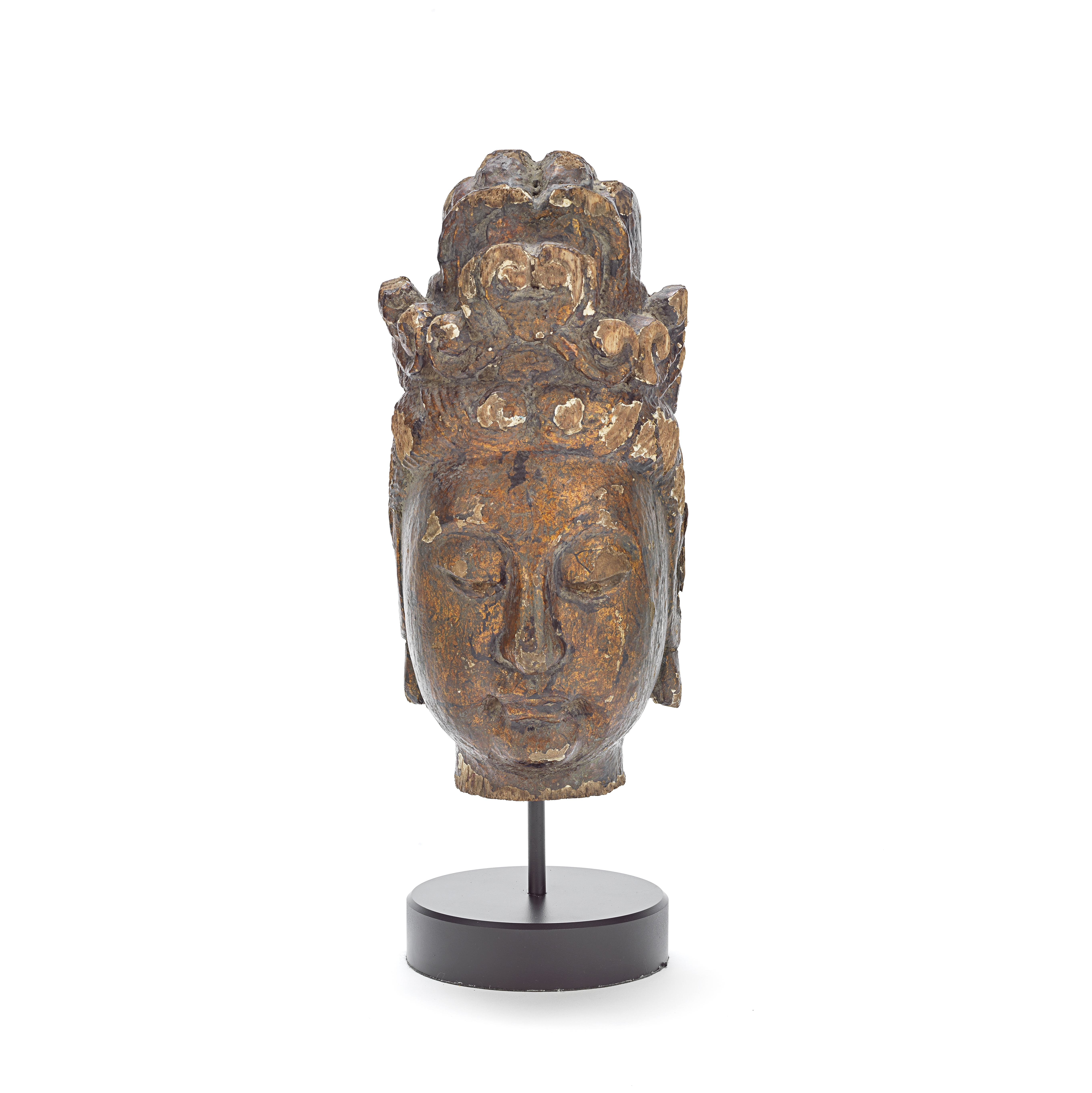 A LACQUERED WOOD HEAD OF GUANYIN Probably Ming Dynasty (2)