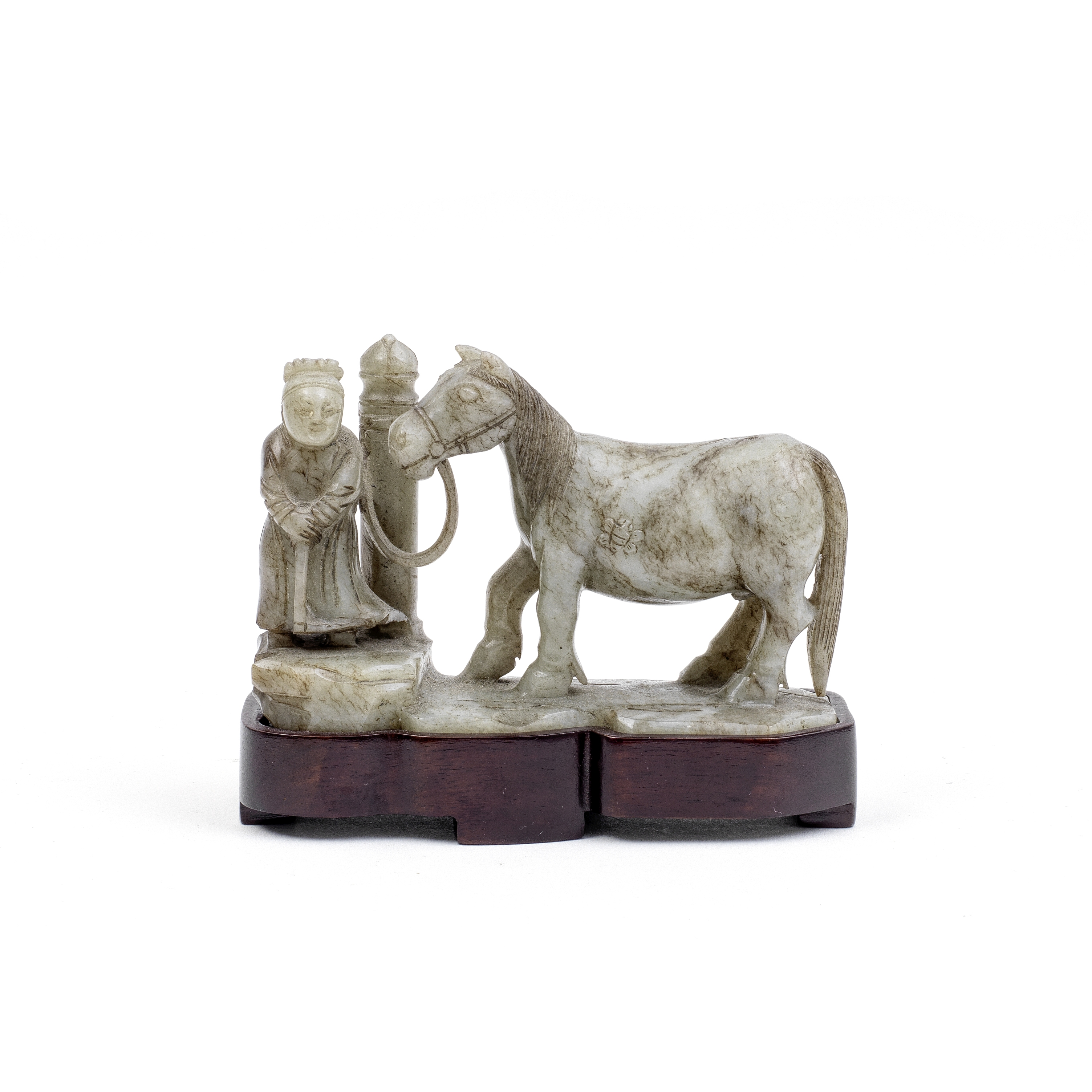 A PALE GREYISH-GREEN AND RUSSET JADE 'HORSE AND GROOM' GROUP 18th/19th century (2)