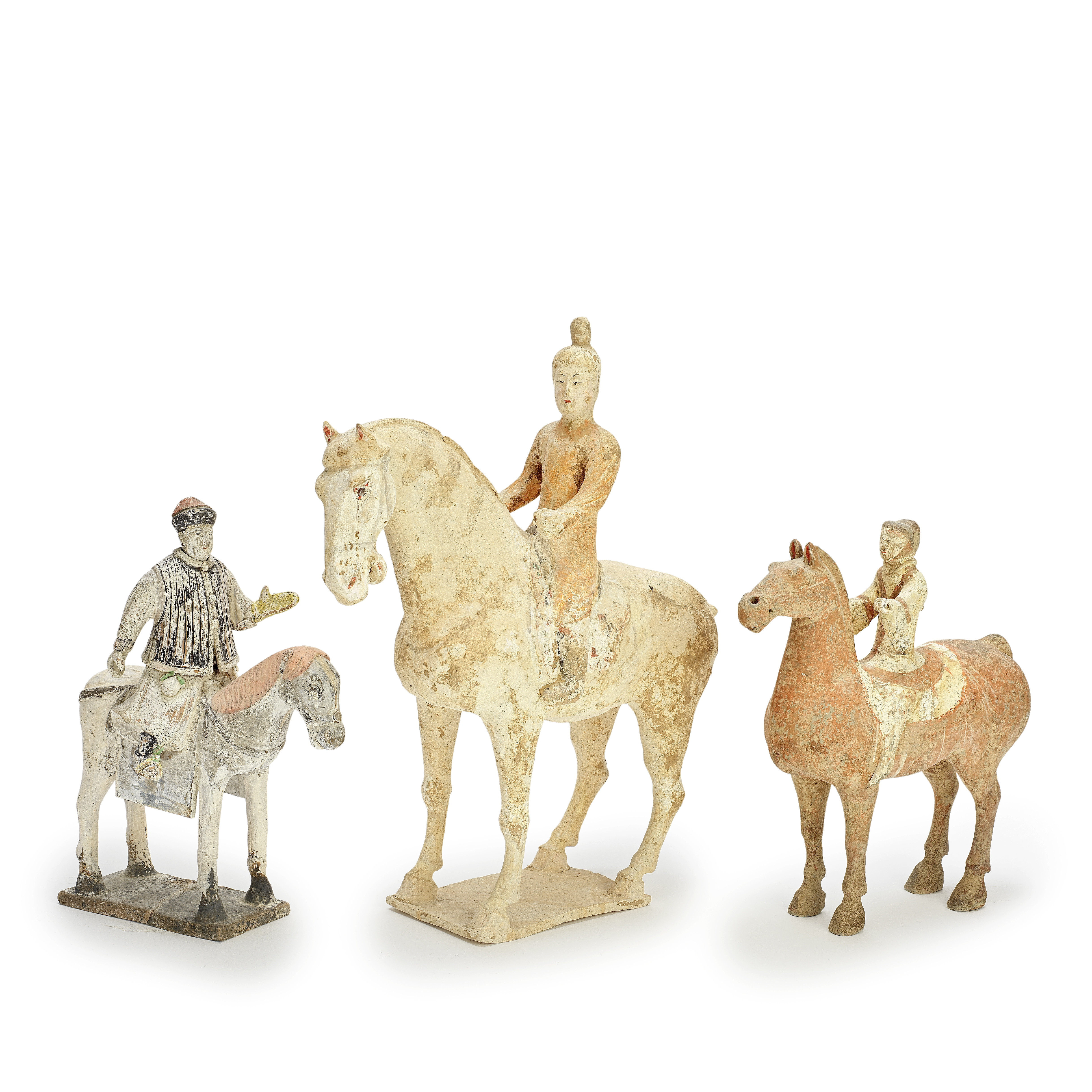 THREE POTTERY EQUESTRIAN GROUPS Han to Ming Dynasty (4)