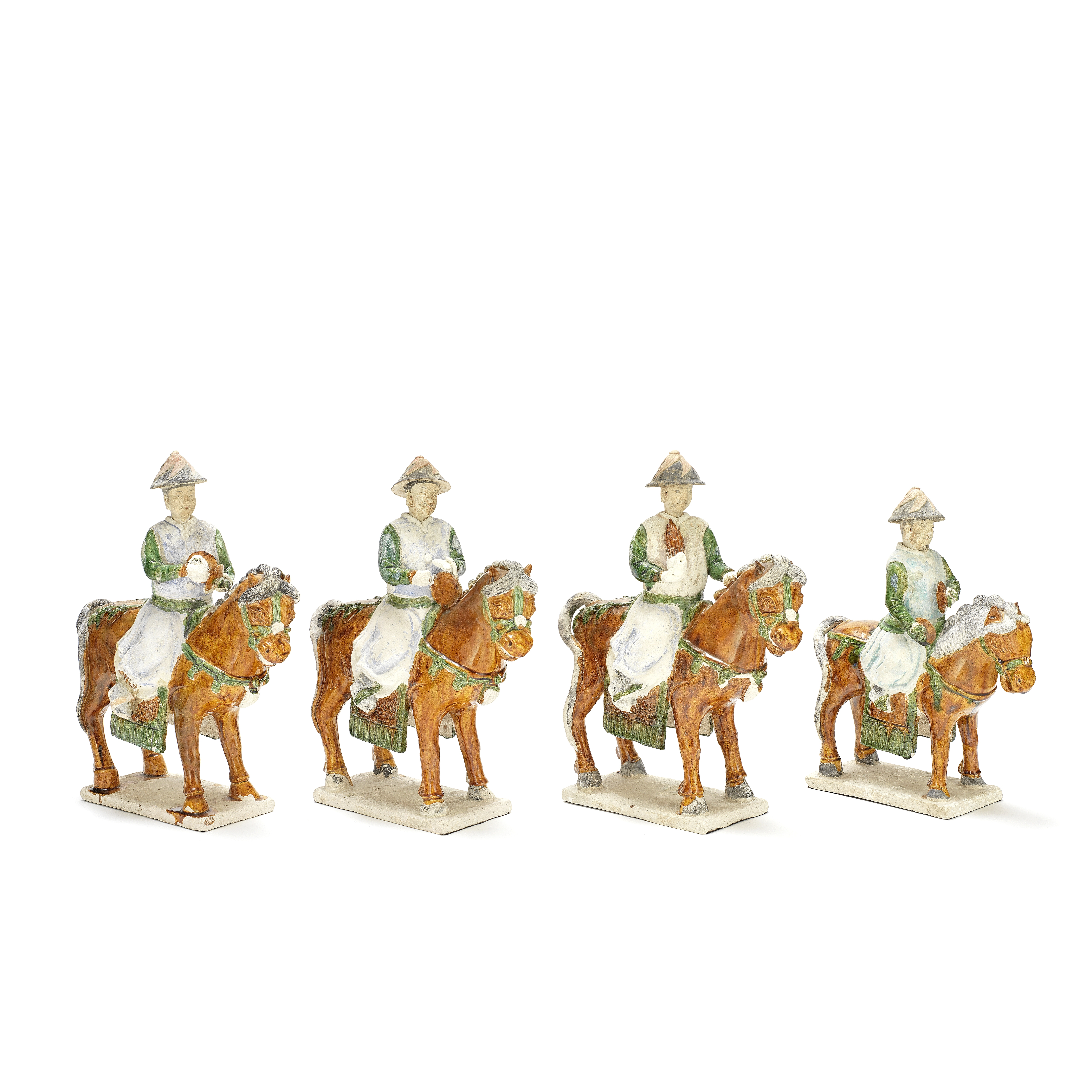 A GROUP OF FOUR EQUESTRIAN MALE MUSICIANS Ming Dynasty (8)