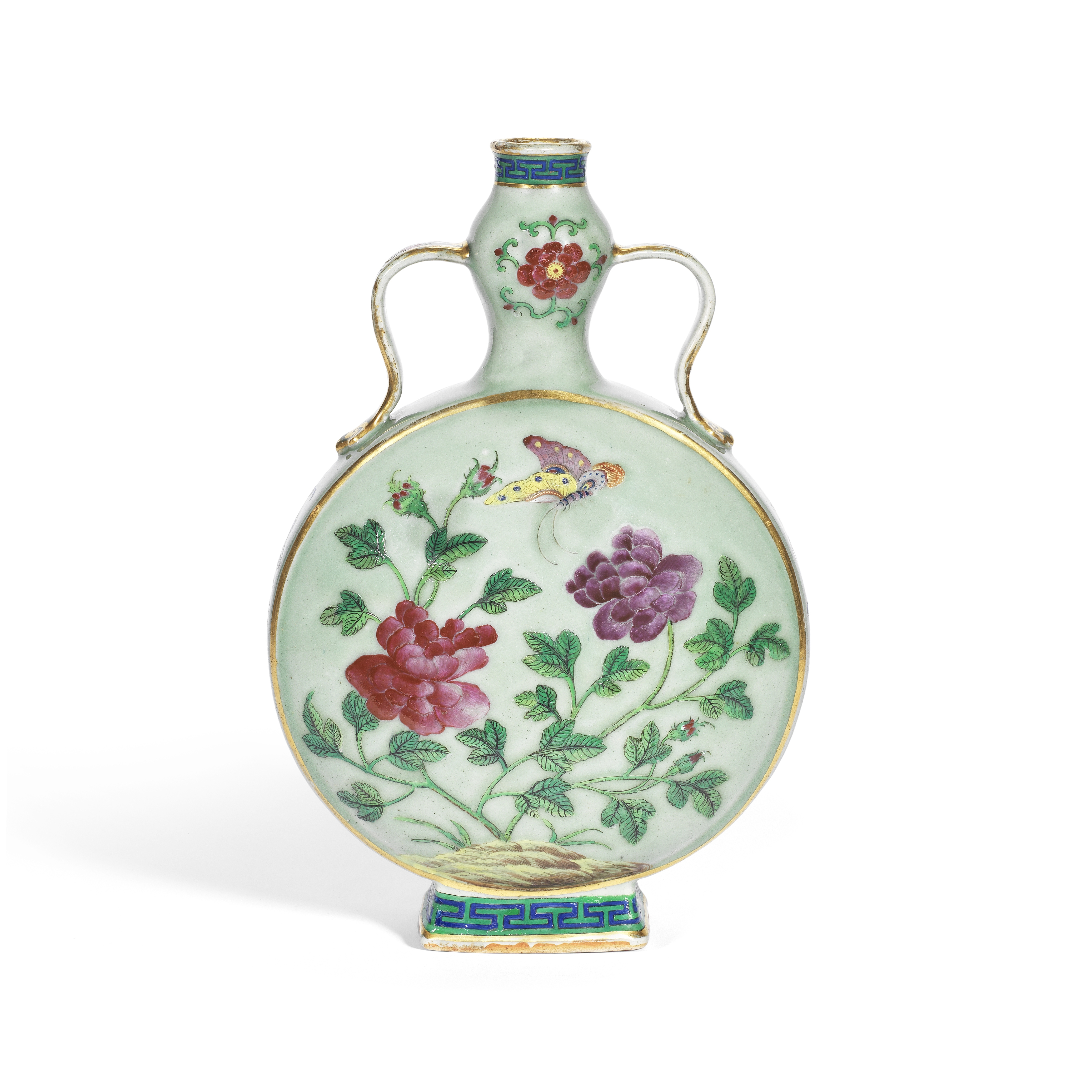 A FAMILLE ROSE CELADON-GROUND MOONFLASK 19th century