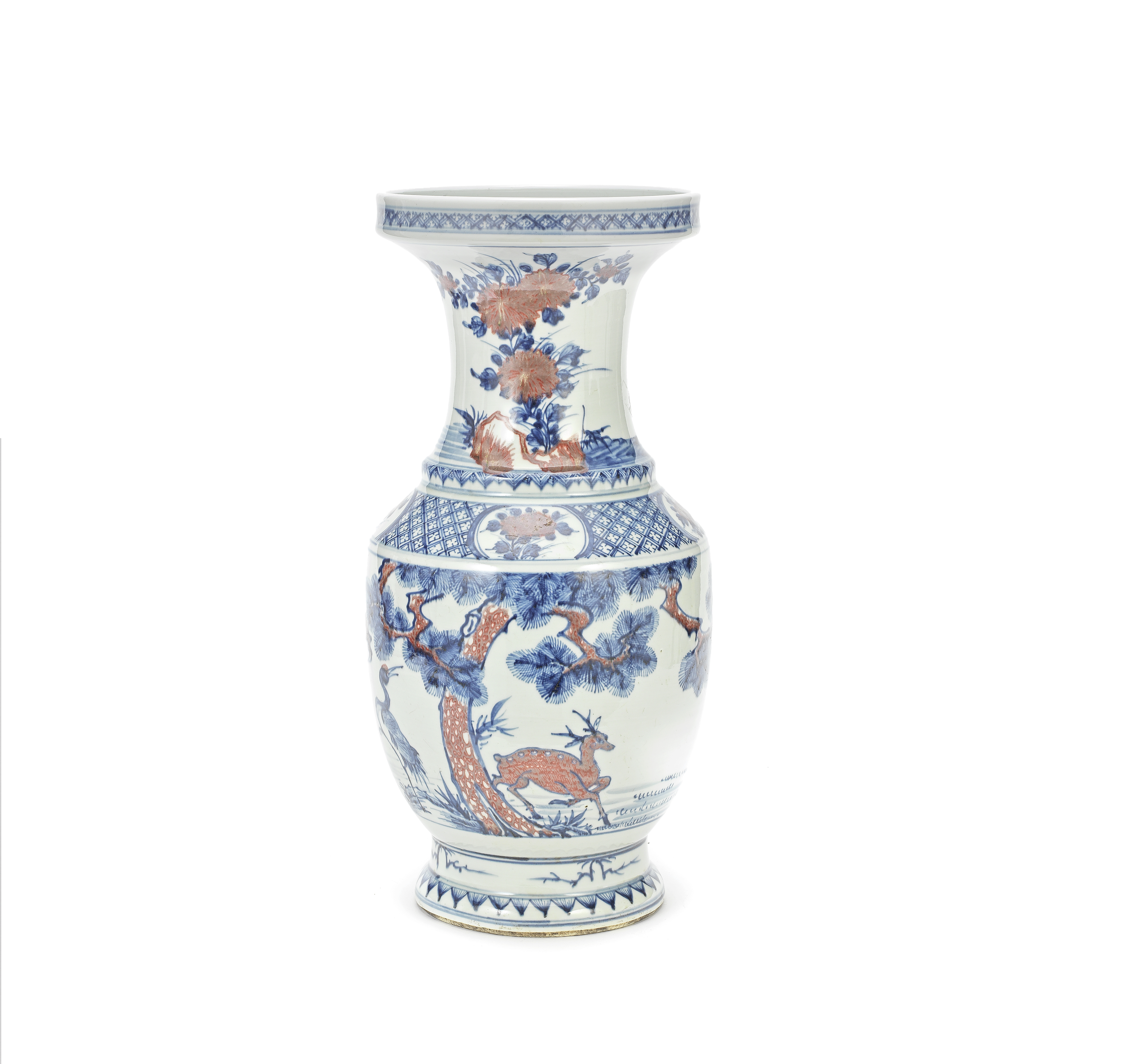 A BLUE AND WHITE AND COPPER-RED BALUSTER VASE 18th/19th century