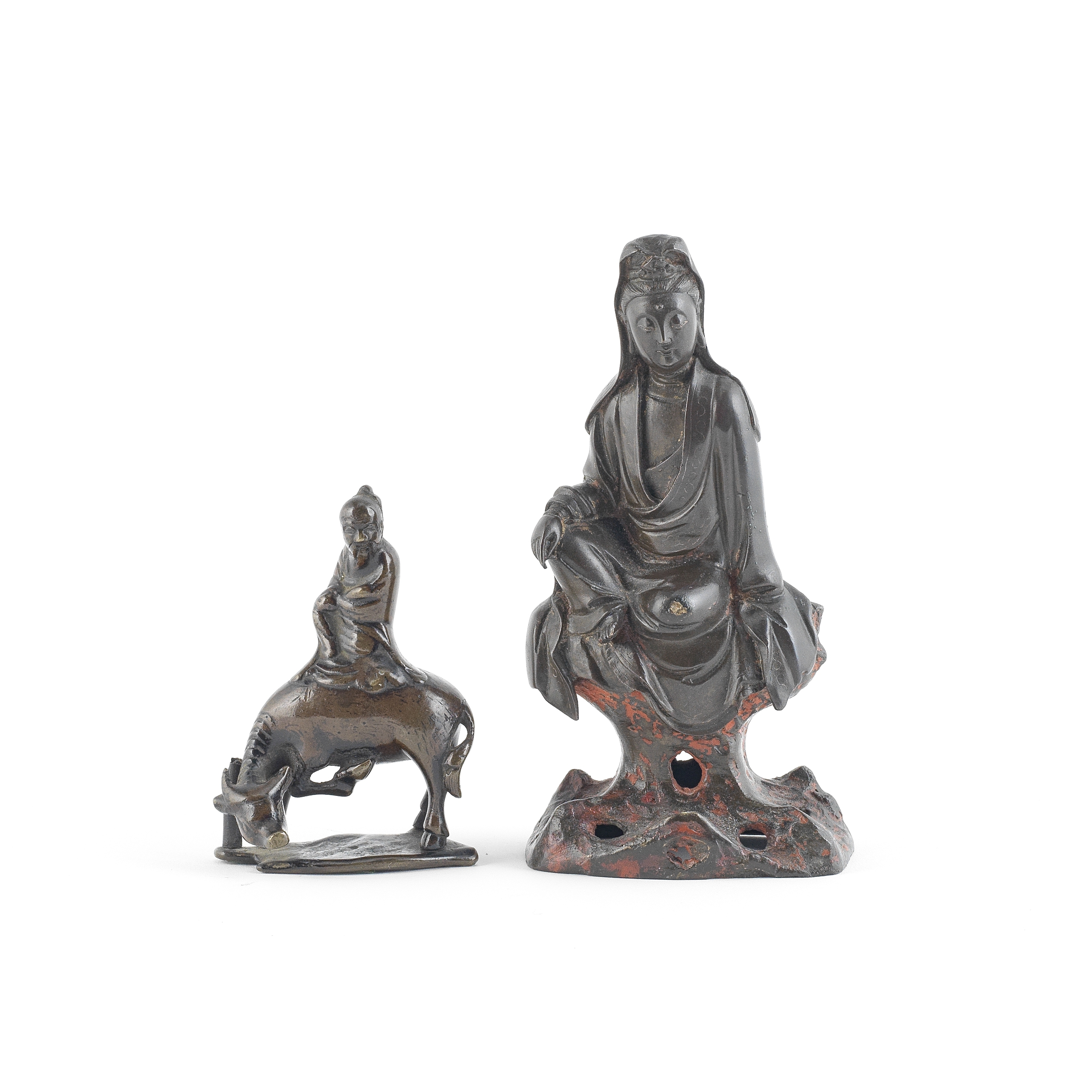 TWO BRONZE MODELS OF GUANYIN AND LAOZI 17th century (2)